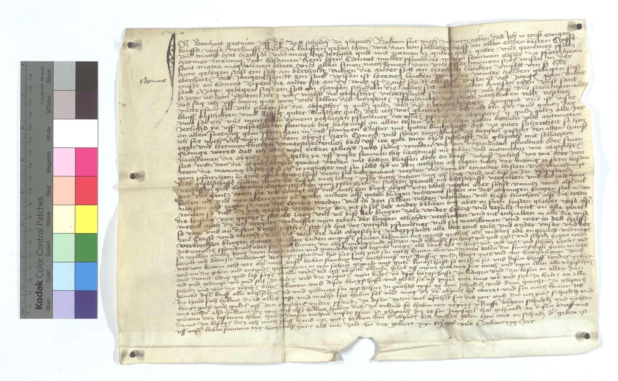 Gültbrief des Bernhard Gertmann, Schultheiß von Glattbach (Glapach), gegen die Maria Magdalena Pfründe im Frauenkloster in Pforzheim., Text