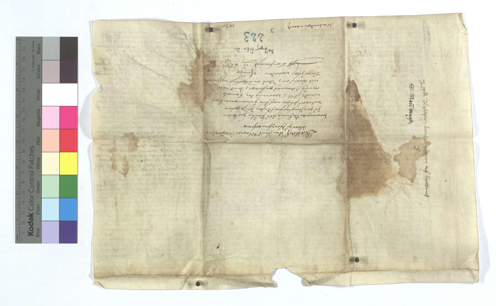 Gültbrief des Bernhard Gertmann, Schultheiß von Glattbach (Glapach), gegen die Maria Magdalena Pfründe im Frauenkloster in Pforzheim., Rückseite