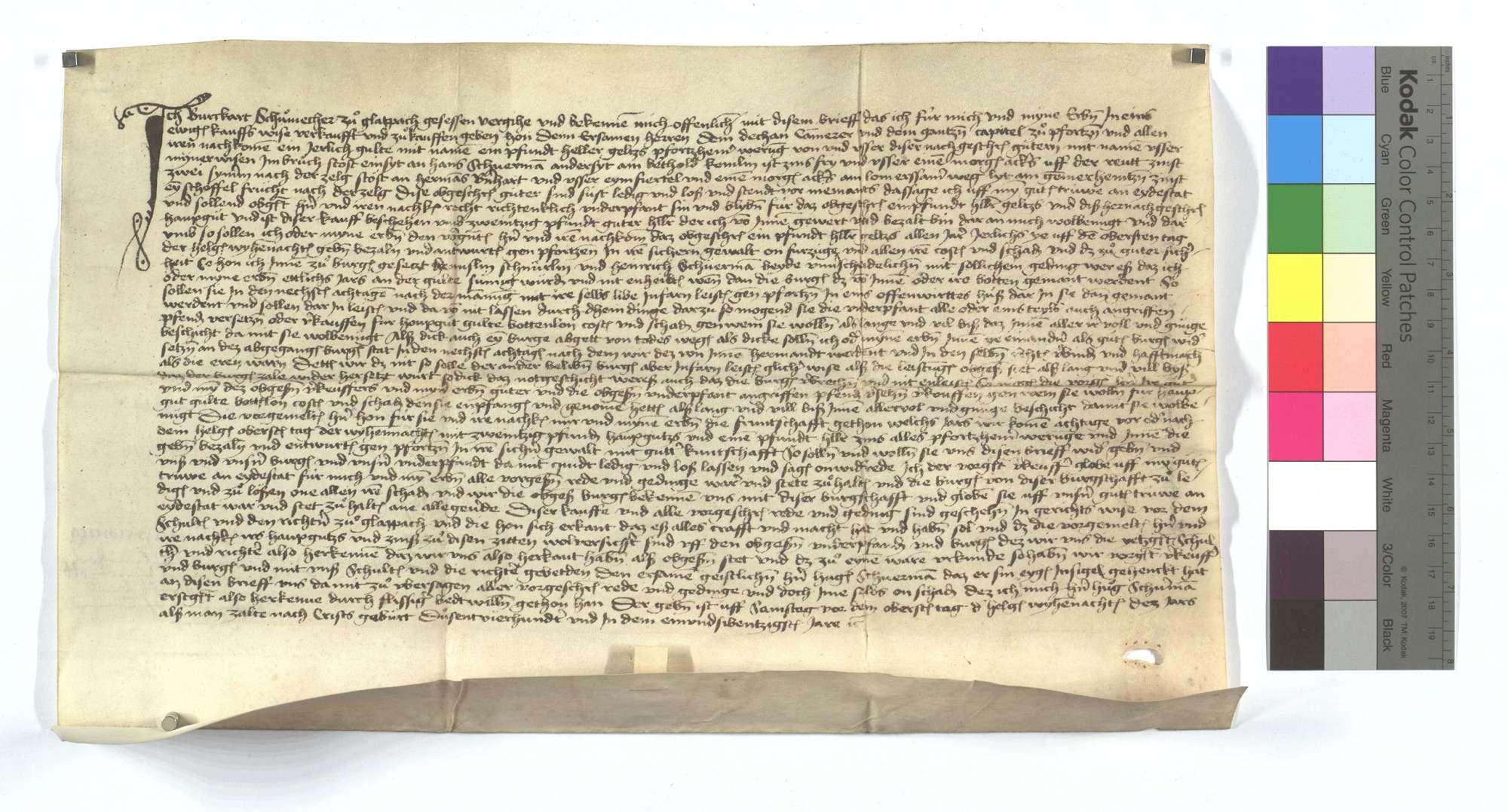 Gültbrief Burkart Schumachers von Glattbach (Glapach) gegen das Kapitel von Pforzheim., Text