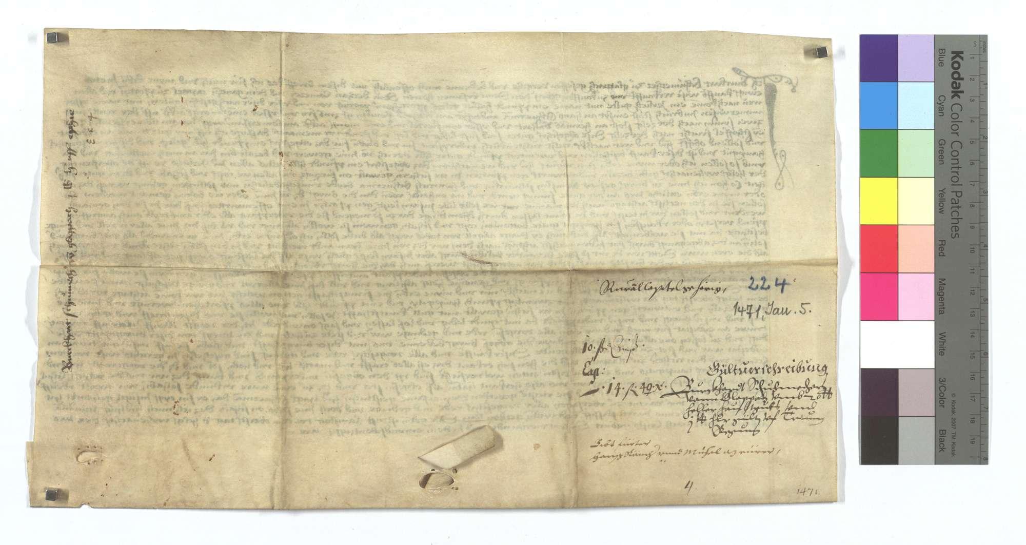 Gültbrief Burkart Schumachers von Glattbach (Glapach) gegen das Kapitel von Pforzheim., Rückseite