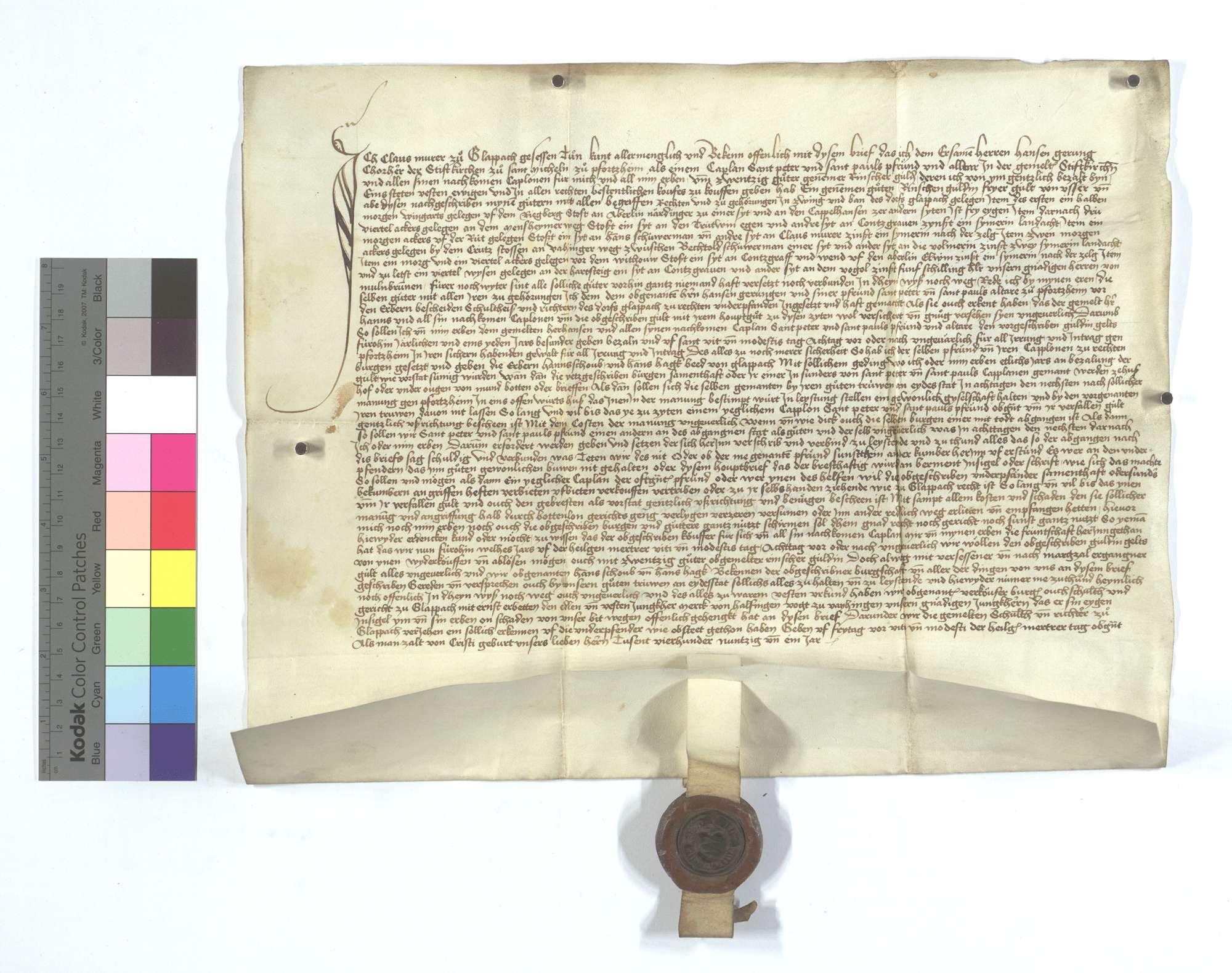 Gültbrief des Claus Murer von Glattbach (Glappach) gegen die Peter und Paul Pfründe im Michaelsstift in Pforzheim., Text