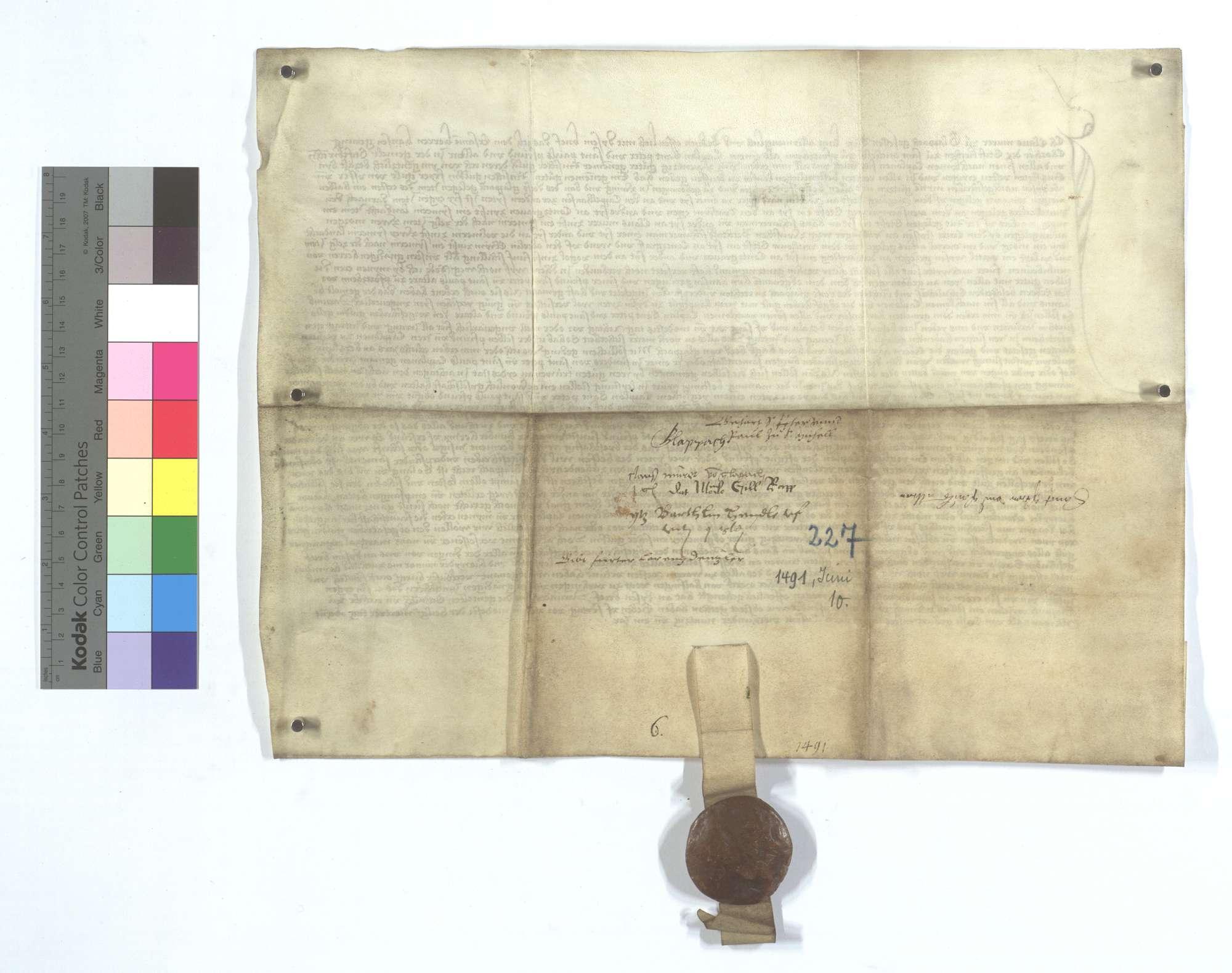 Gültbrief des Claus Murer von Glattbach (Glappach) gegen die Peter und Paul Pfründe im Michaelsstift in Pforzheim., Rückseite
