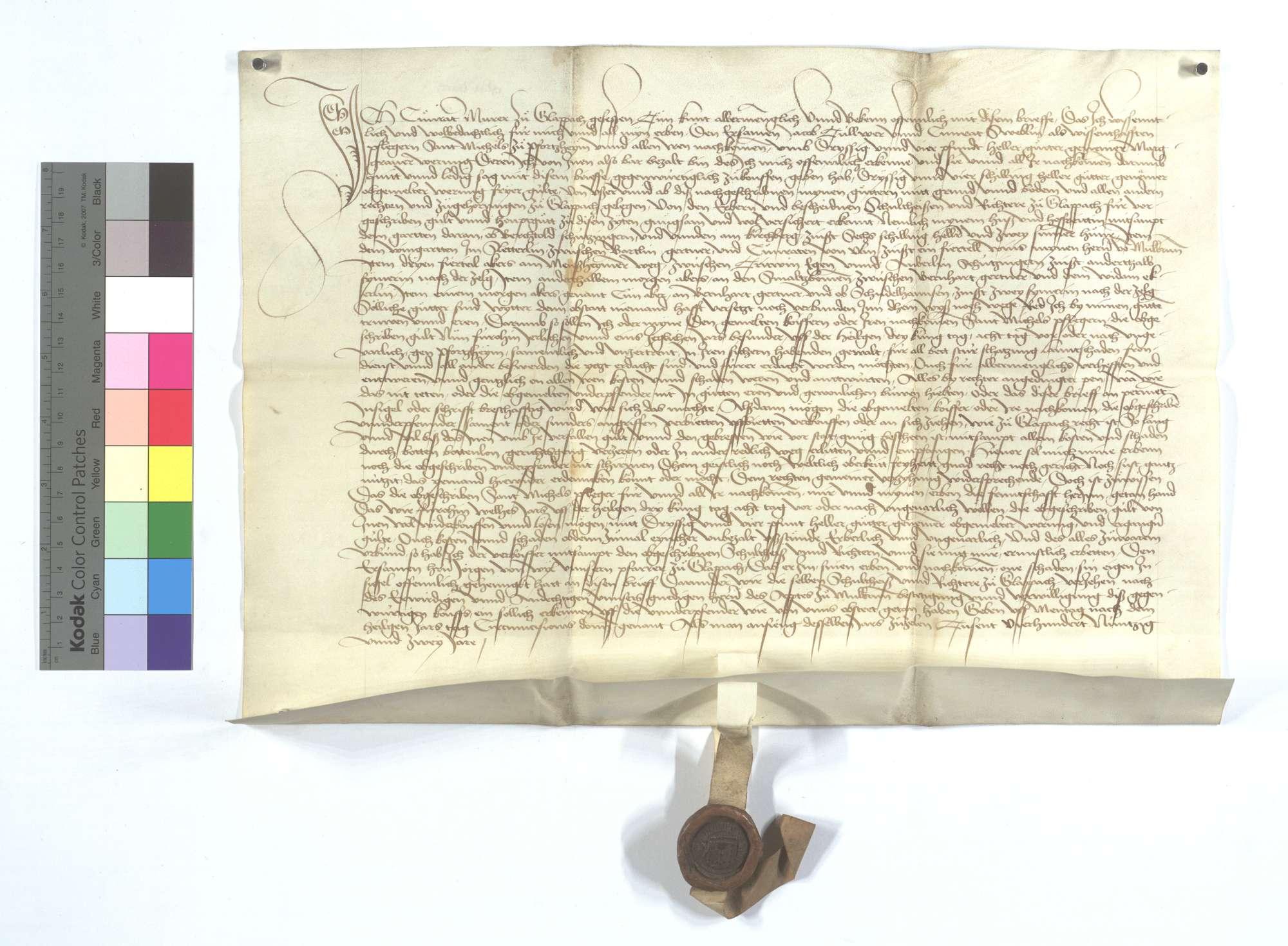 Gültbrief des Conrad Murer von Glattbach (Glappach) gegen das St. Michaelsstift in Pforzheim., Text