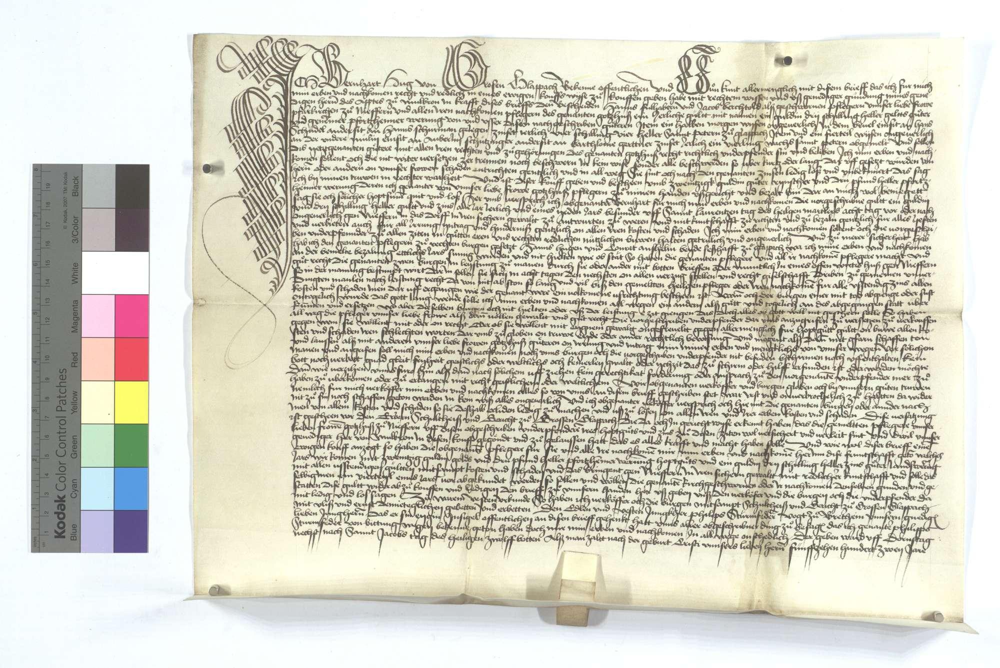 Gültbrief des Bernhard Hug von Großglattbach (Großen Glappach) gegen die Pfarrkirche von Niefern., Text