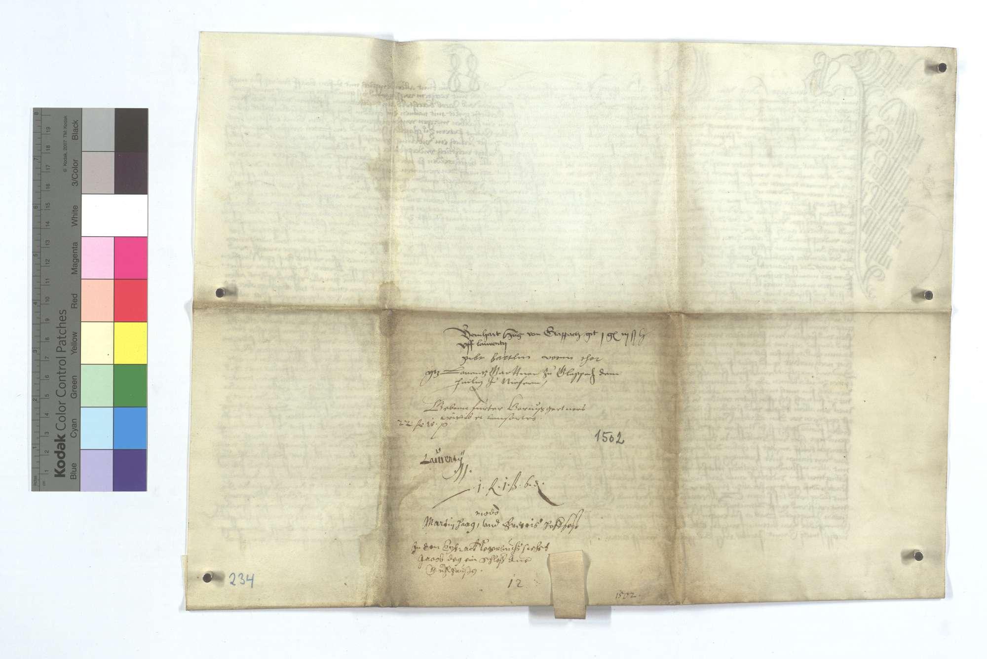 Gültbrief des Bernhard Hug von Großglattbach (Großen Glappach) gegen die Pfarrkirche von Niefern., Rückseite