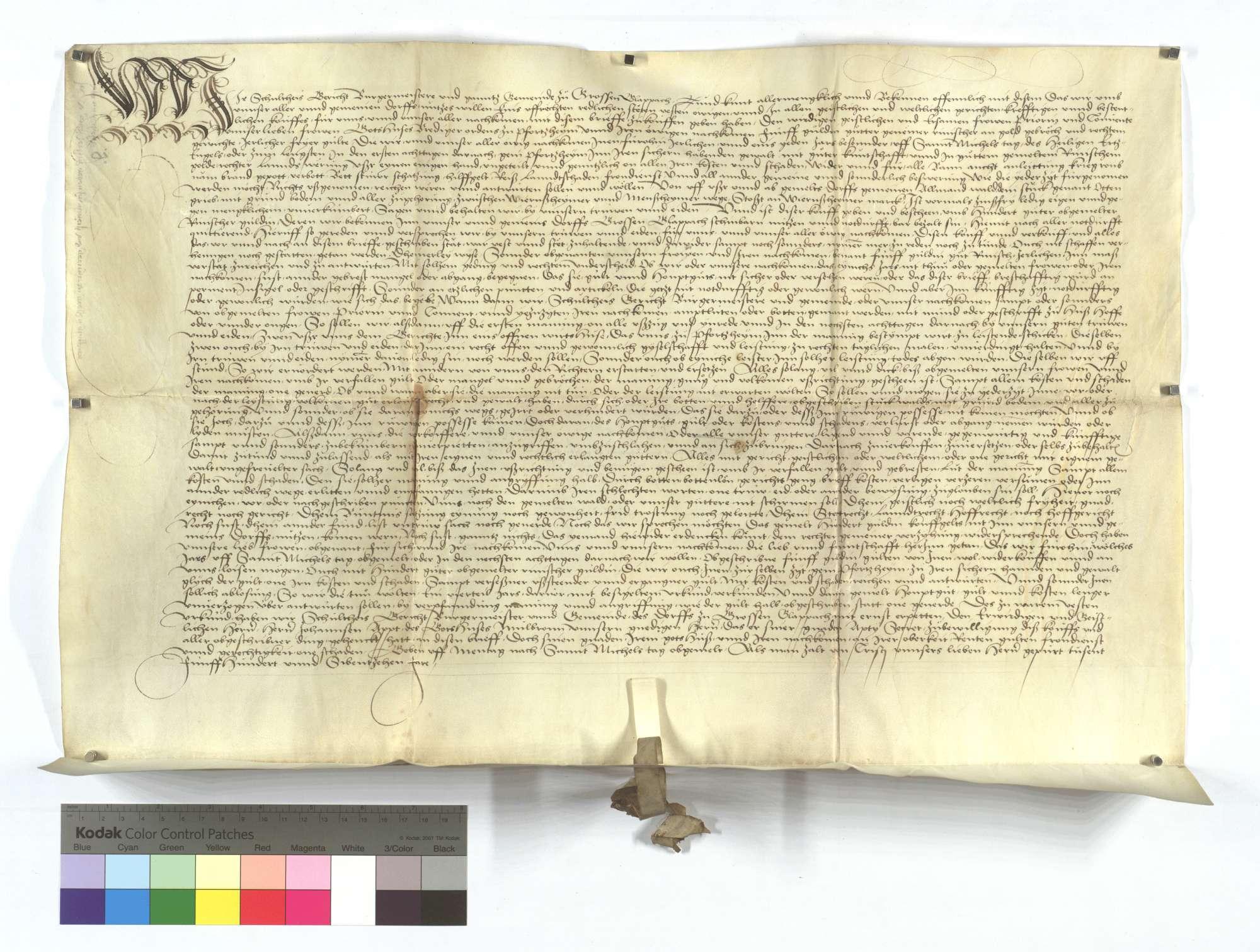 Gültbrief der Gemeinde Großglattbach (Großen Glappach) gegen das Frauenkloster Pforzheim., Text
