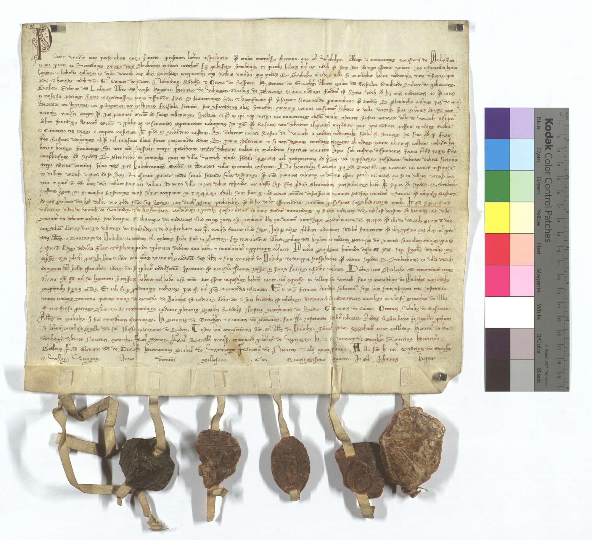 Zwischen dem Kloster Maulbronn und Ritter Berthold Strubecho wird eine Reihe von Streitigkeiten hinsichtlich der Rechtsverhältnisse in Weissach durch ein von beiden Parteien gewähltes Schiedsgericht entschieden., Text
