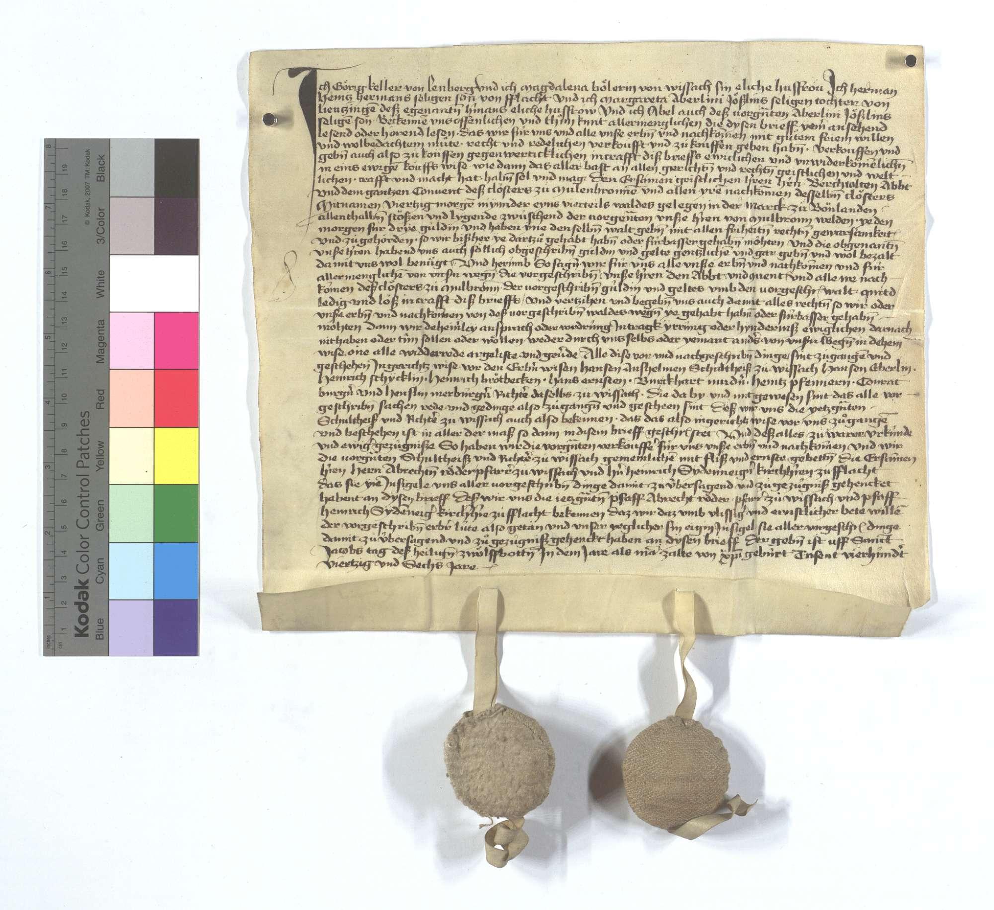 Fertigung um 20 Morgen Wald in Bonlanden, die Georg (Görig) Keller und Konsorten dem Kloster Maulbronn verkauft haben., Text