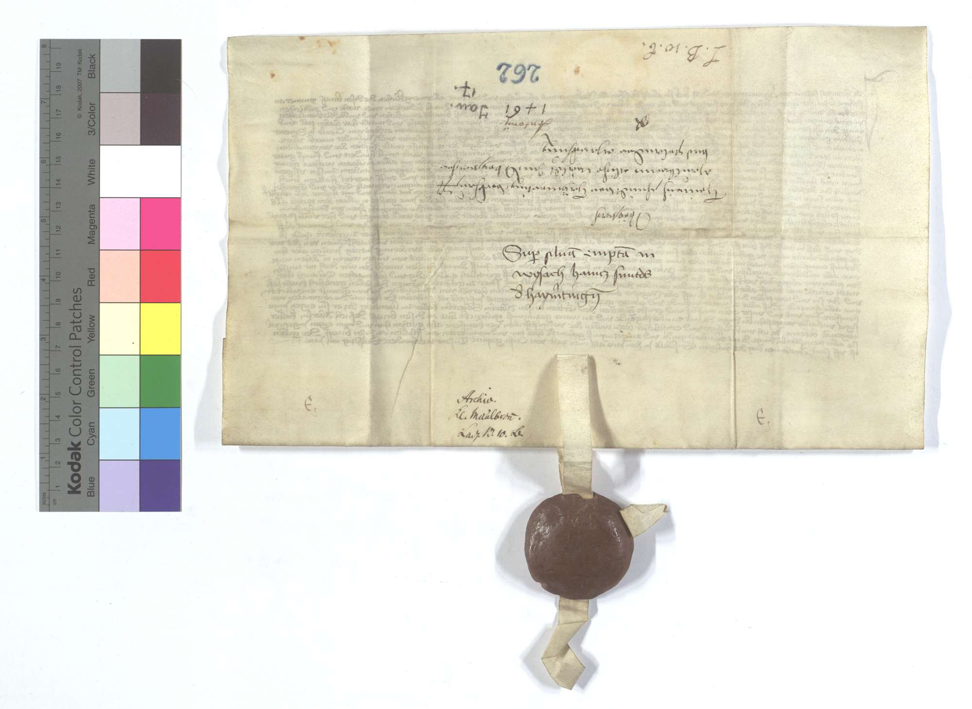 Heinrich Schmit (Schmyt) zu Heimerdingen (Heymertingen) verkauft seinen Wald in Weissach und Bonlander Markung dem Kloster Maulbronn., Rückseite