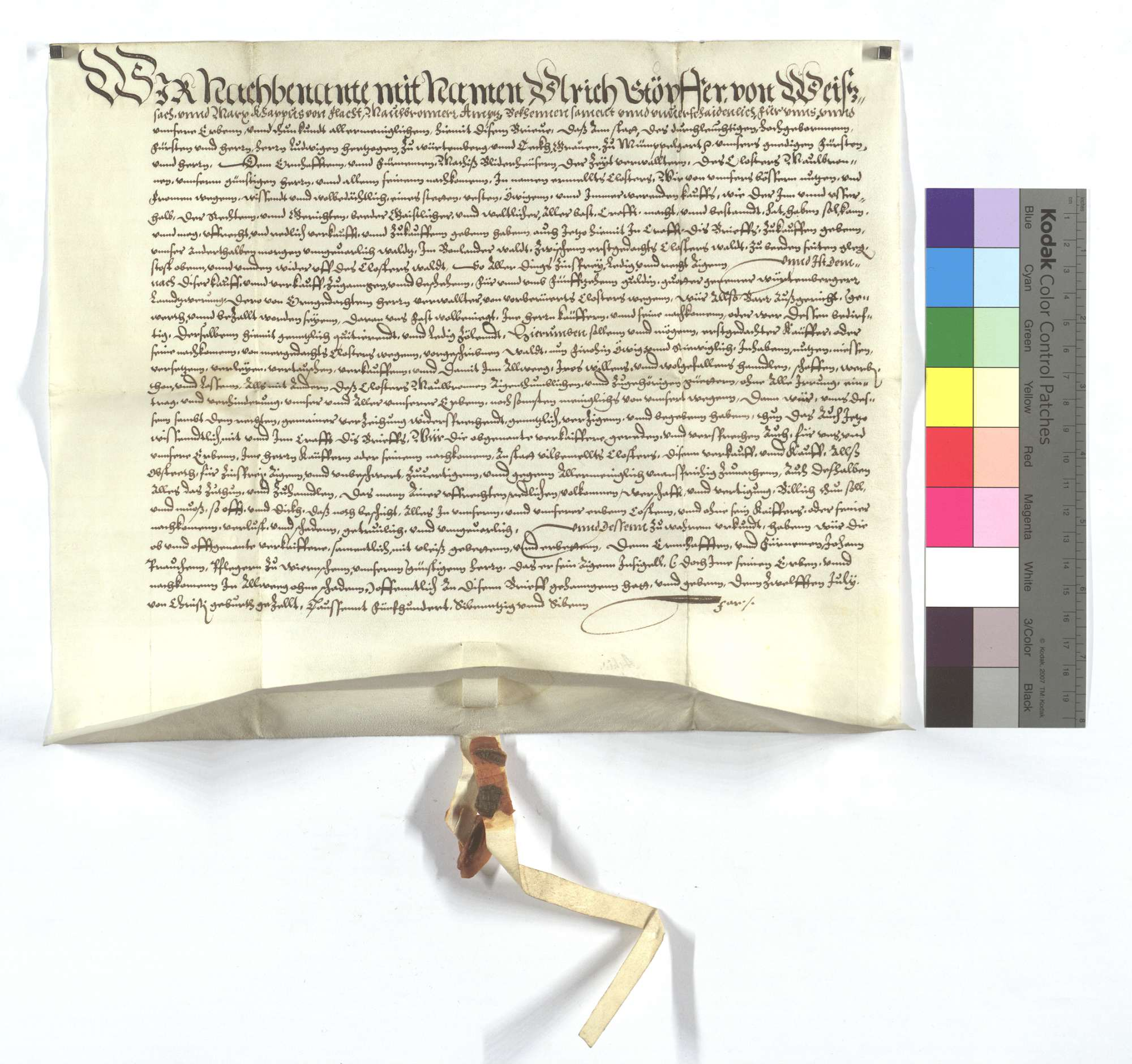 Fertigung Ulrich Stöpfers und Konsorten um 1 1/2 Morgen Wald in Bonlanden, die er dem Kloster Maulbronn verkauft., Text