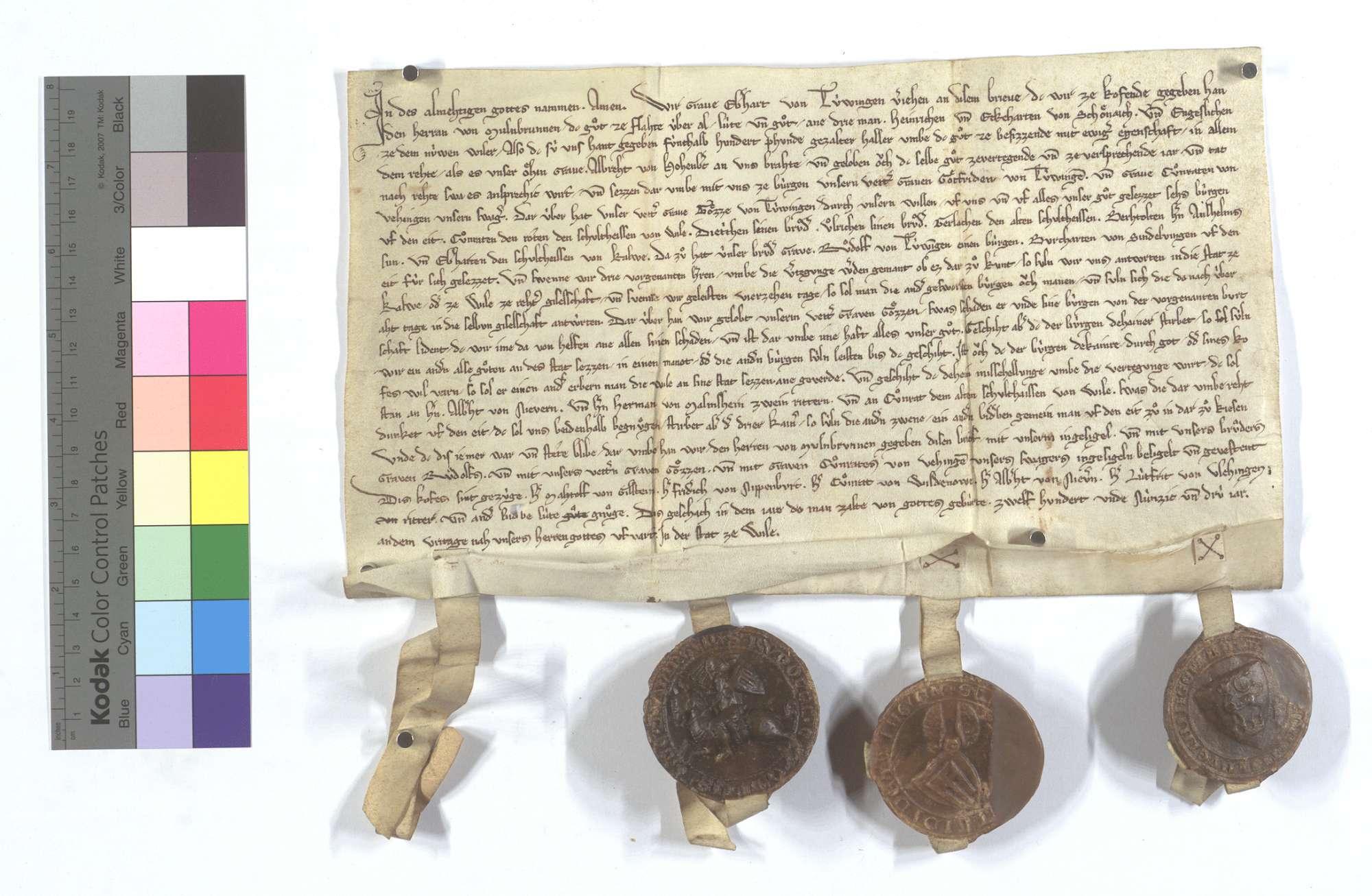 Graf Eberhard von Tübingen verkauft sein Gut in Flacht dem Kloster Maulbronn., Text