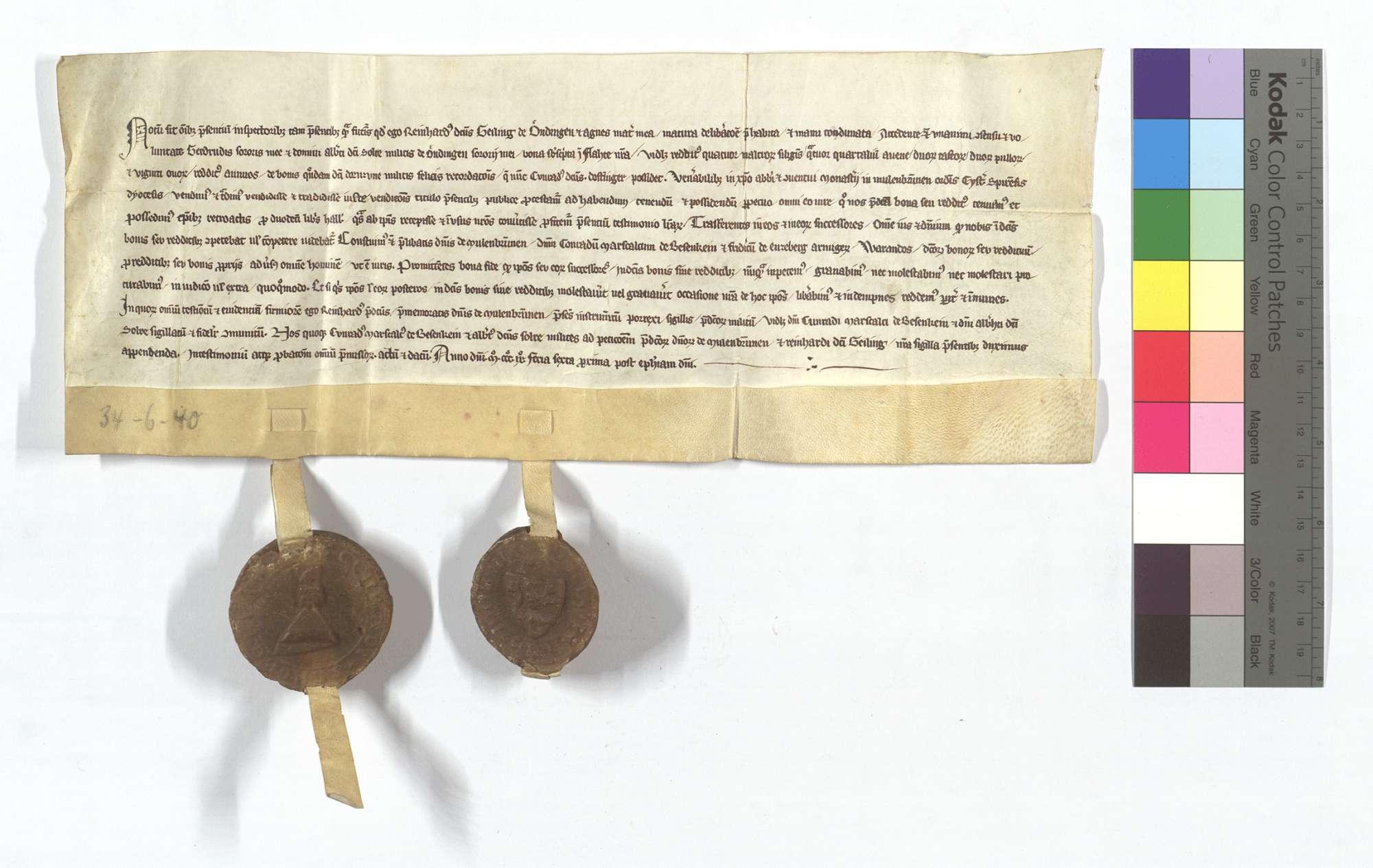 Reinhard Geiling von Ehningen verkauft dem Kloster Maulbronn etliche Gülten in Flacht., Text