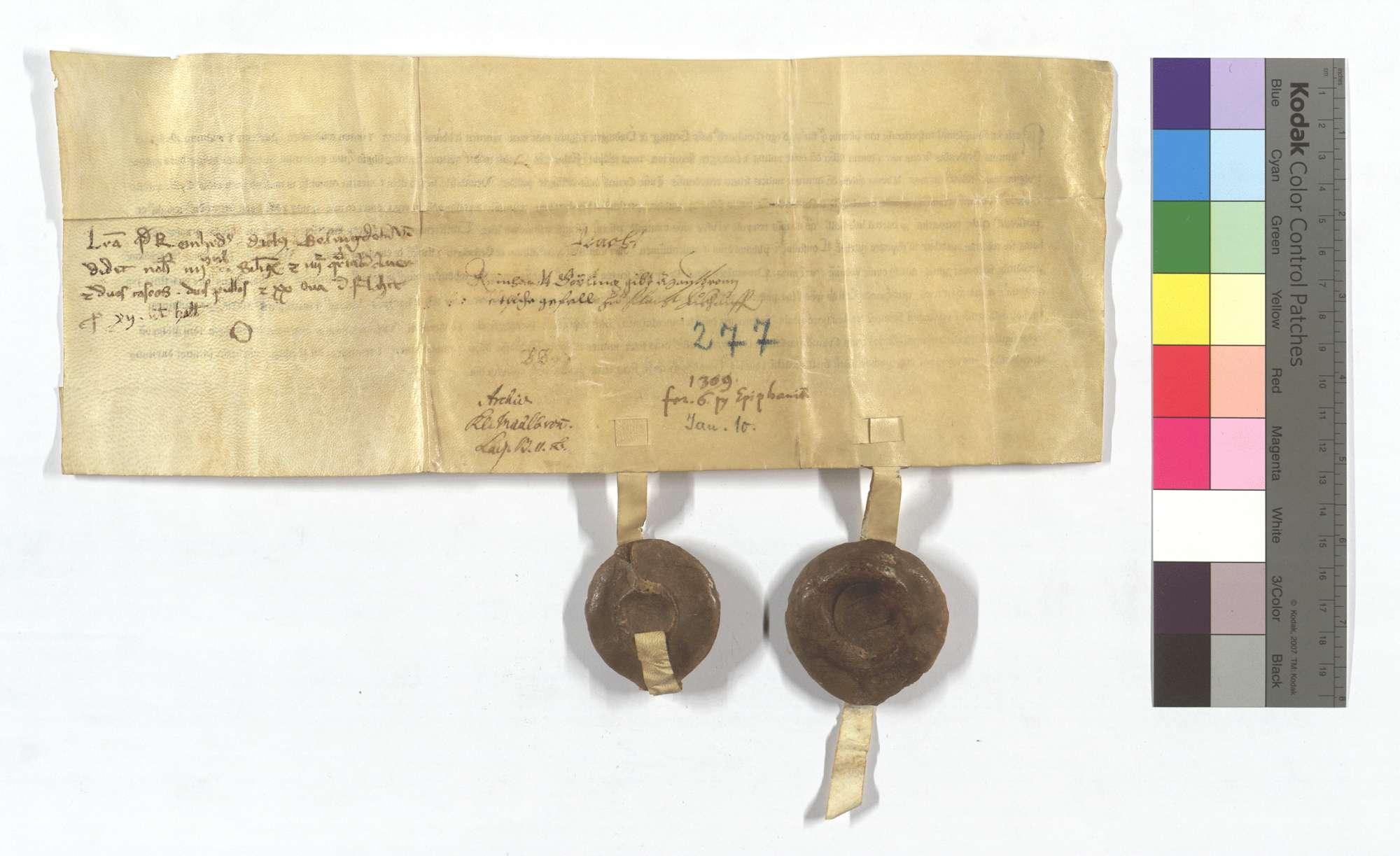 Reinhard Geiling von Ehningen verkauft dem Kloster Maulbronn etliche Gülten in Flacht., Rückseite