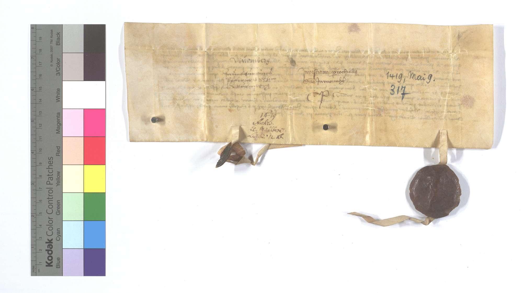Mandat des Propstes von St. Guido in Speyer an den Dekan in Bretzingen (Brezingen), den Priester der Pfarrkirche in Wurmberg zu investieren., Rückseite