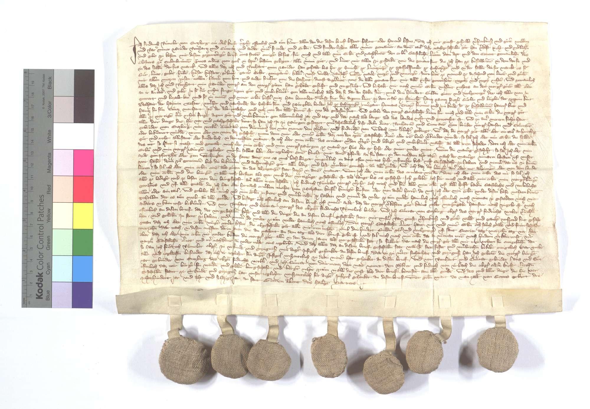 Friedrich Rummler von Enzberg verkauft dem Kloster Maulbronn all sein Einkommen und Gerechtsame in Kieselbronn und (auch) Schmie (Schmye), Lienzingen (Lientzingen), Zaisersweiher und Schützingen (Schüzingen)., Text