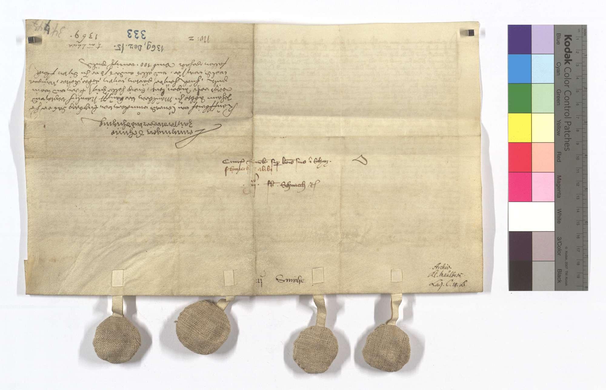 Conrad Rummler von Enzberg verkauft dem Kloster Maulbronn die Vogtei und Vogtgerechtsame, Leibeigenen und was er hatte in Lienzingen (Lientzingen), Schmie (Schmye), Zaisersweiher und Schützingen (Schüzingen)., Rückseite