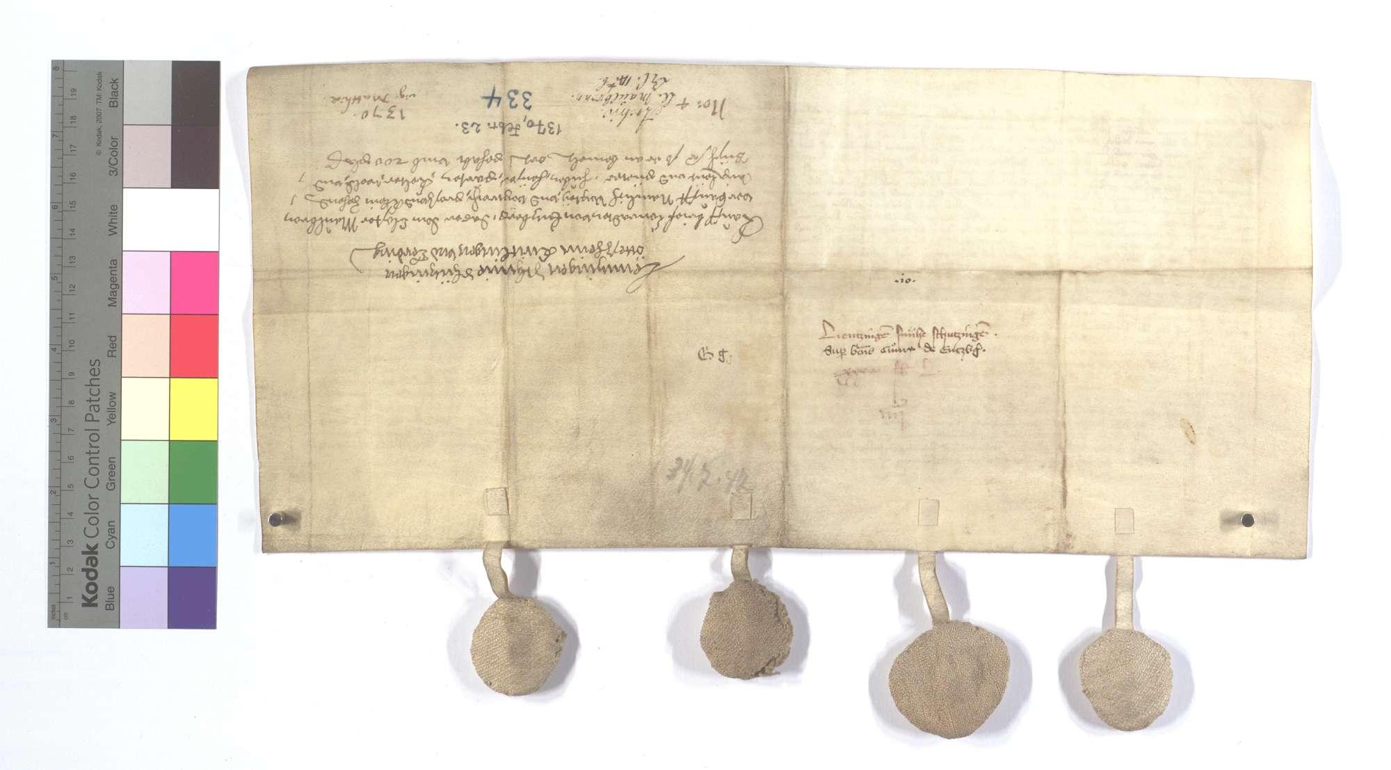 Conrad Rummler von Enzberg verkauft dem Kloster Maulbronn all sein Gut, Gülten und Gerechtsame in Lienzingen (Lientzingen), Schmie (Schmye), Schützingen (Schüzingen) und Ötisheim samt der Leibeigenen in Knittlingen und Ersingen., Rückseite