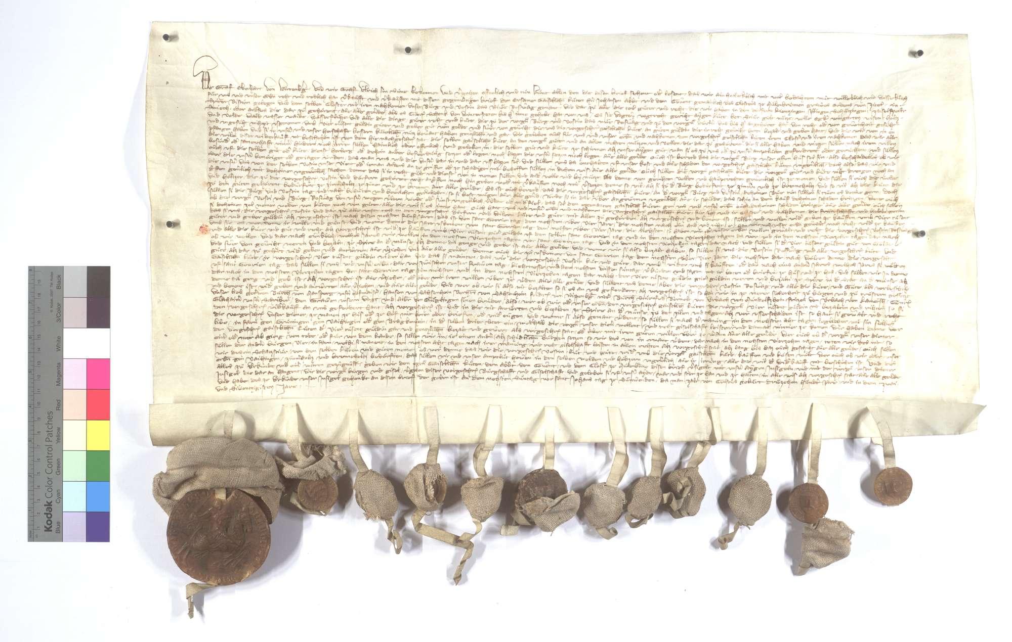 Graf Eberhard von Württemberg (Wirtemberg) und Graf Ulrich, sein Sohn, verkaufen dem Kloster Maulbronn die Burg und Veste (Vestin) Neu (Niuwe) Roßwag samt den Teilgütern und Gerechtsame in Lienzingen (Lientzingen), Illingen, Schützingen (Schüzingen), Zaisersweiher und Schmie (Schmye) auf Widerlegung., Text