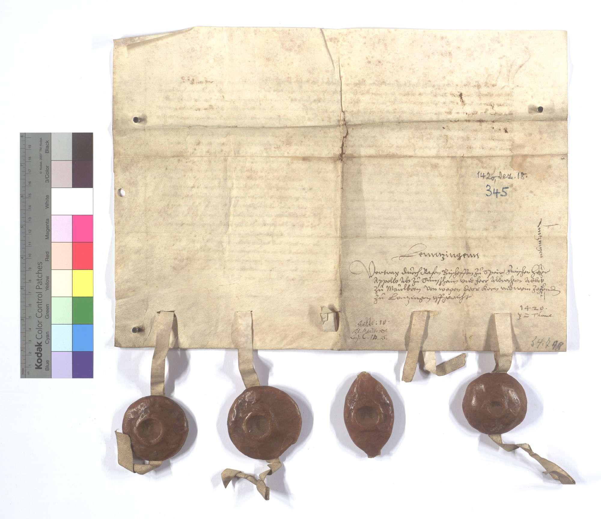 Bischöflich Speyrischer Vertrag zwischen den beiden Äbten von Sinsheim (Sinßheim) und Maulbronn wegen des Korn- und Weinzehnten in Lienzingen (Lientzingen)., Rückseite