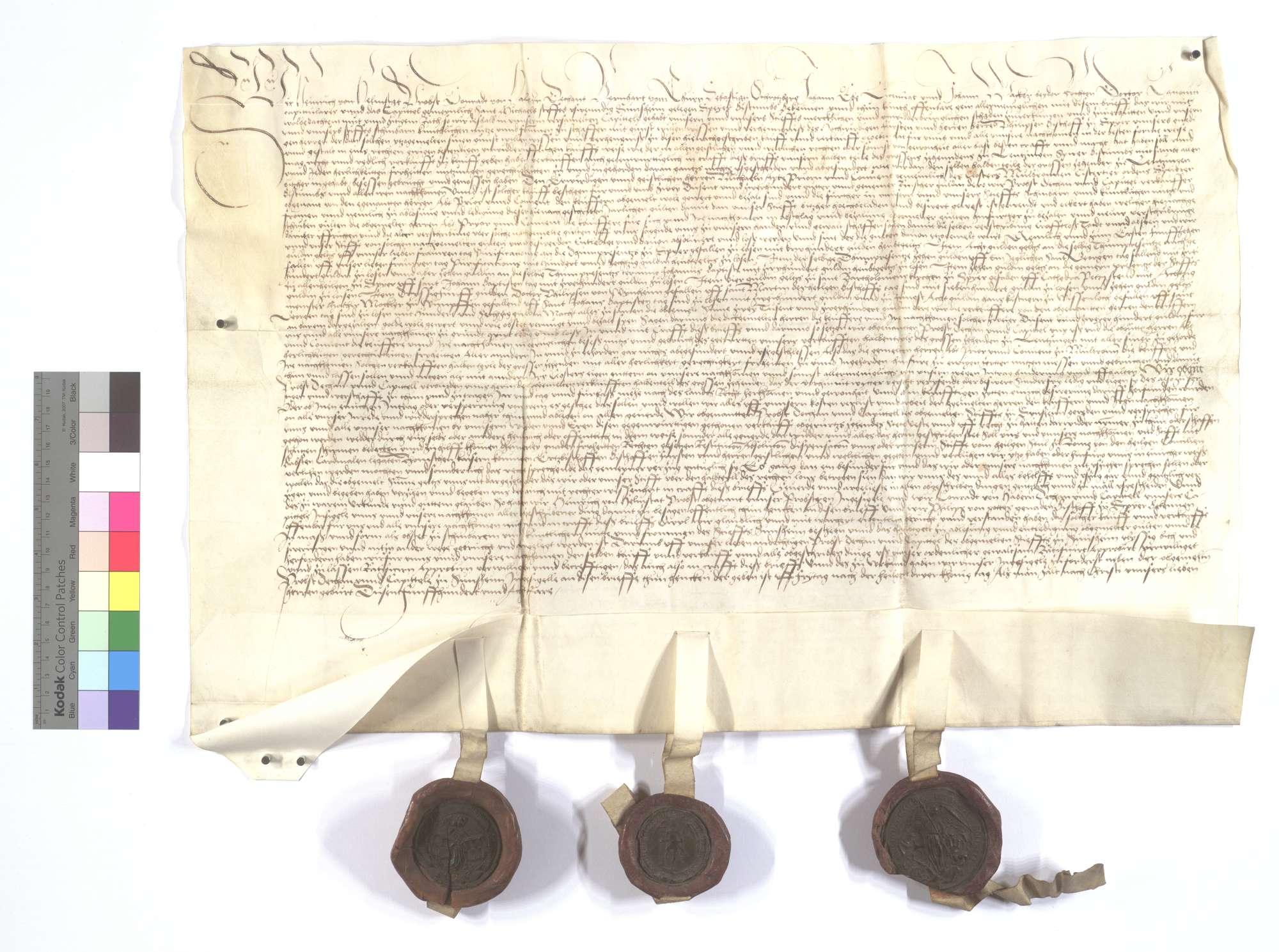 Der Abt und Konvent von Sinsheim, verkaufen dem Kloster Maulbronn den halben Teil des Fruchtzehnten in Lienzingen (Lientzingen) für 2.200 Gulden., Text