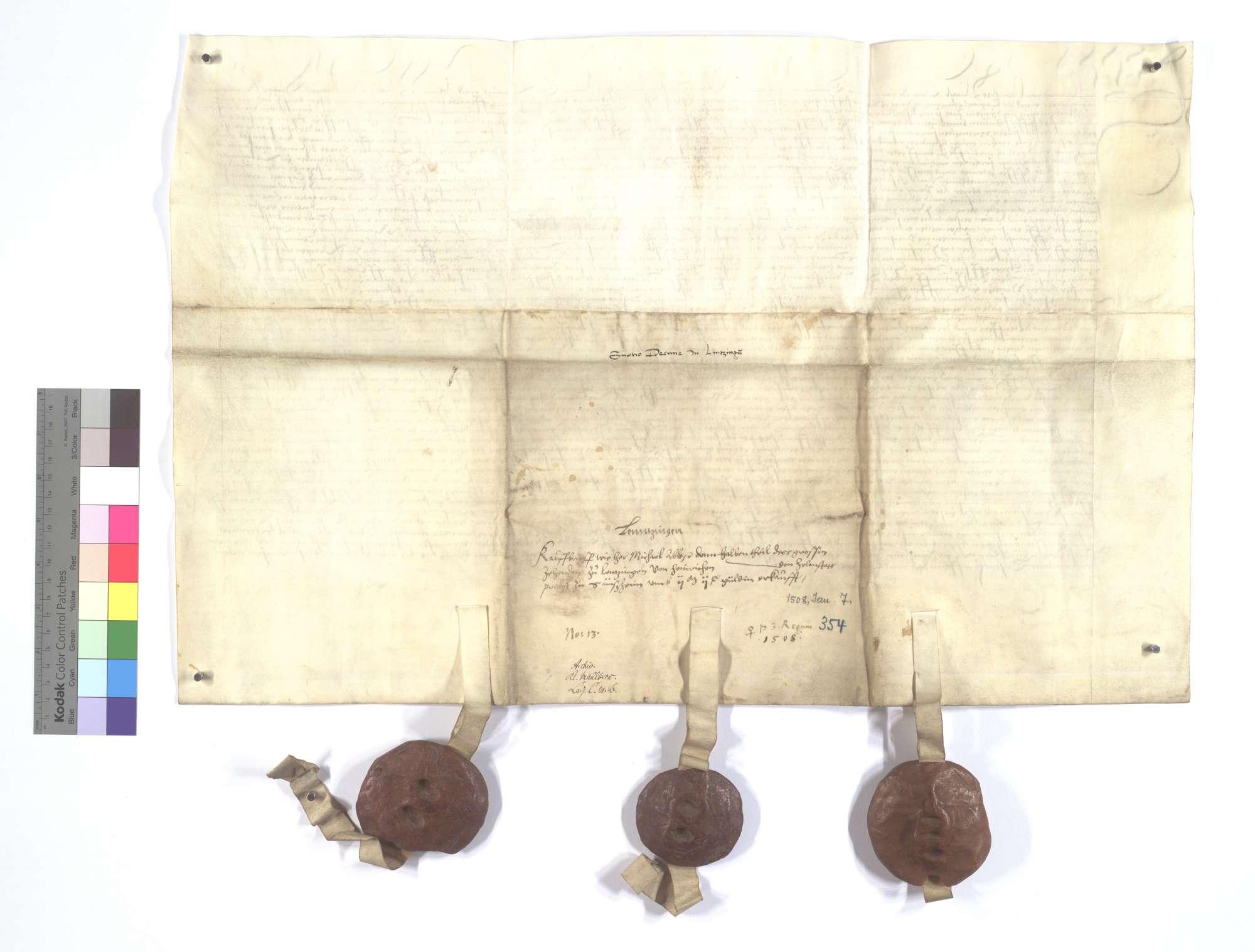 Der Abt und Konvent von Sinsheim, verkaufen dem Kloster Maulbronn den halben Teil des Fruchtzehnten in Lienzingen (Lientzingen) für 2.200 Gulden., Rückseite