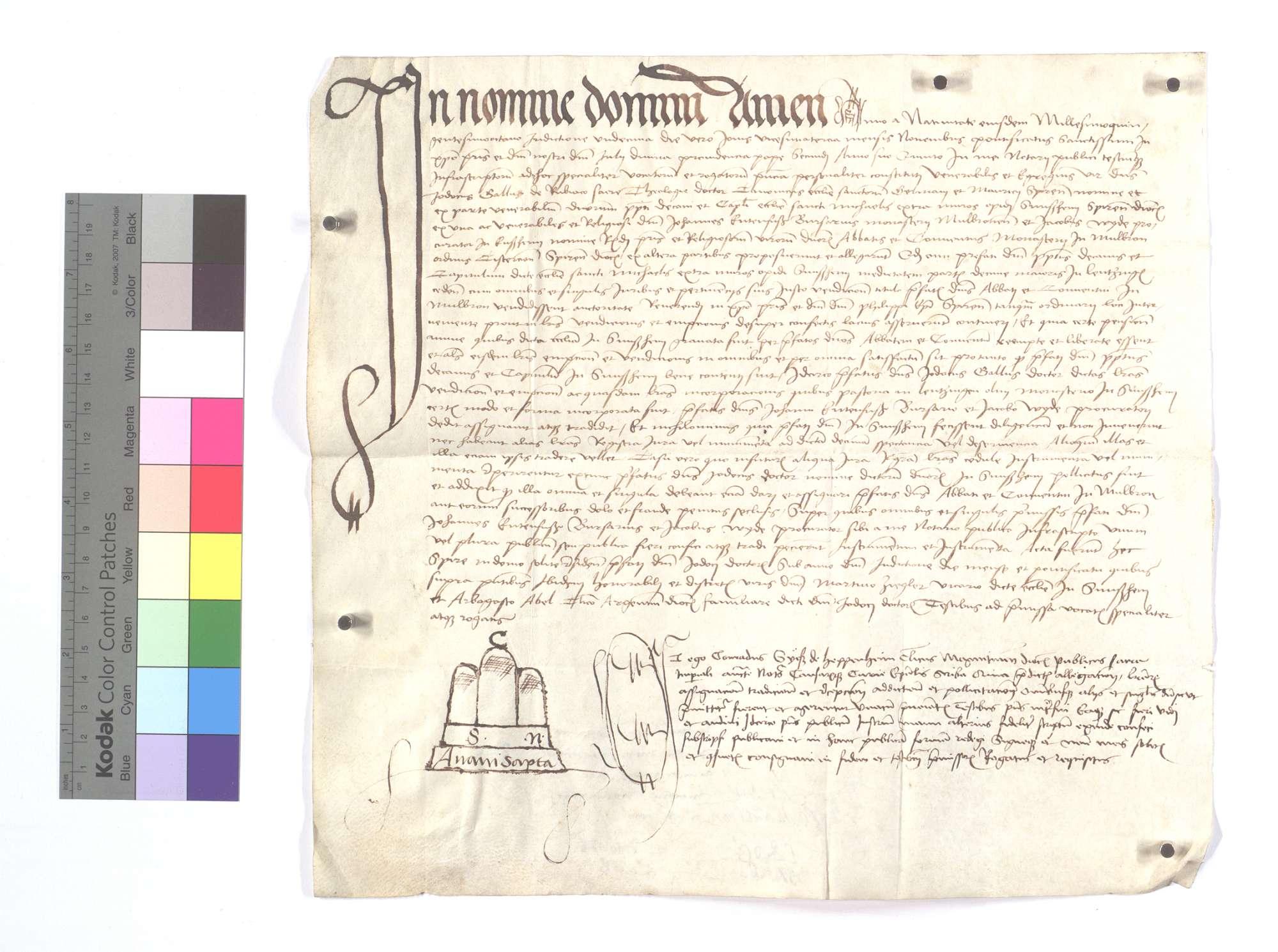 Notariatsinstrument, das sich auf die Fertigung des Abts und Konvents von Sinsheim bezieht, als sie dem Kloster Maulbronn den halben Teil des Fruchtzehnten in Lienzingen (Lientzingen) für 2.200 Gulden verkauft haben, sowie auf die Herausgabe des vorhandenen Dokuments., Text
