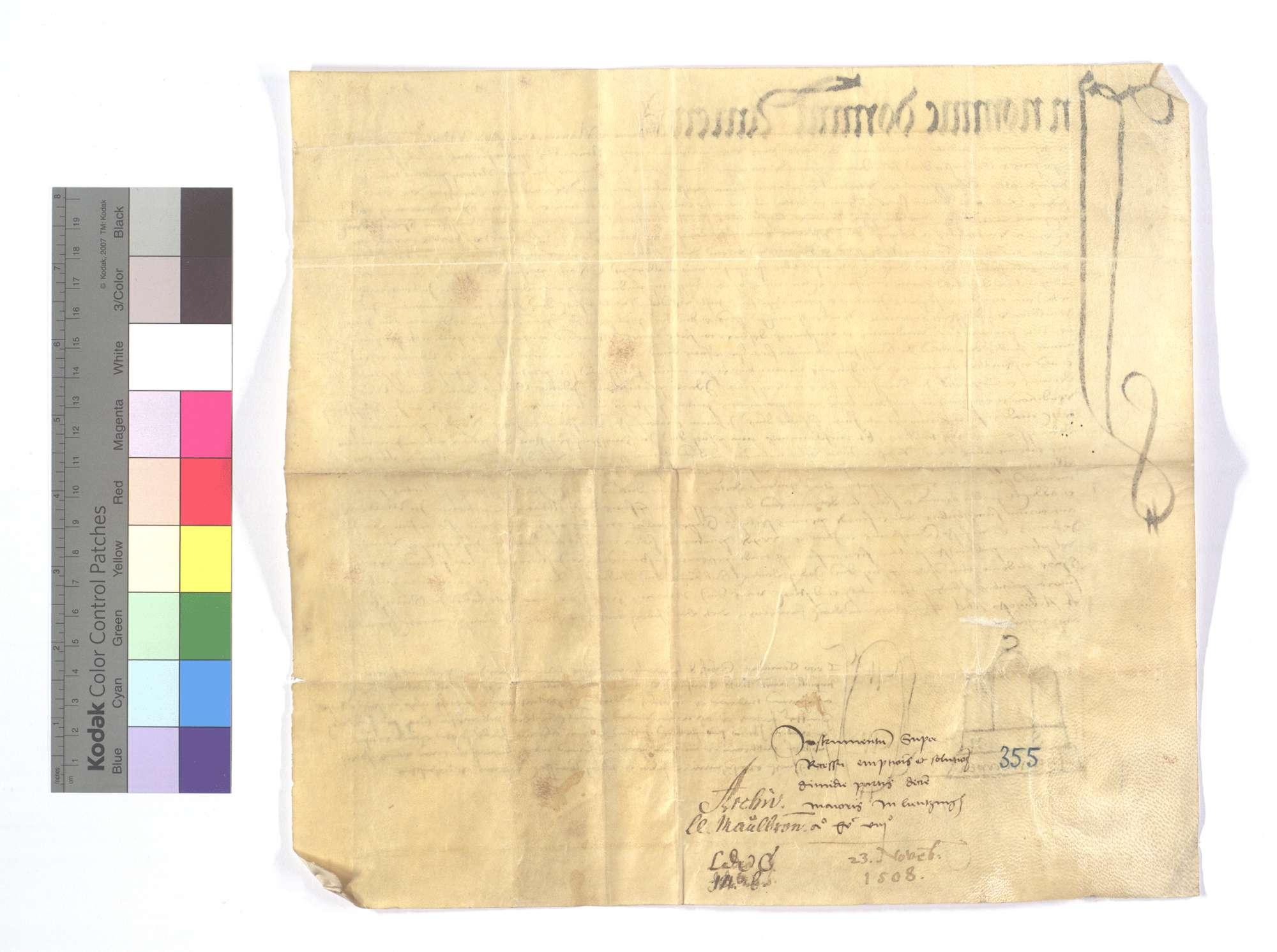 Notariatsinstrument, das sich auf die Fertigung des Abts und Konvents von Sinsheim bezieht, als sie dem Kloster Maulbronn den halben Teil des Fruchtzehnten in Lienzingen (Lientzingen) für 2.200 Gulden verkauft haben, sowie auf die Herausgabe des vorhandenen Dokuments., Rückseite
