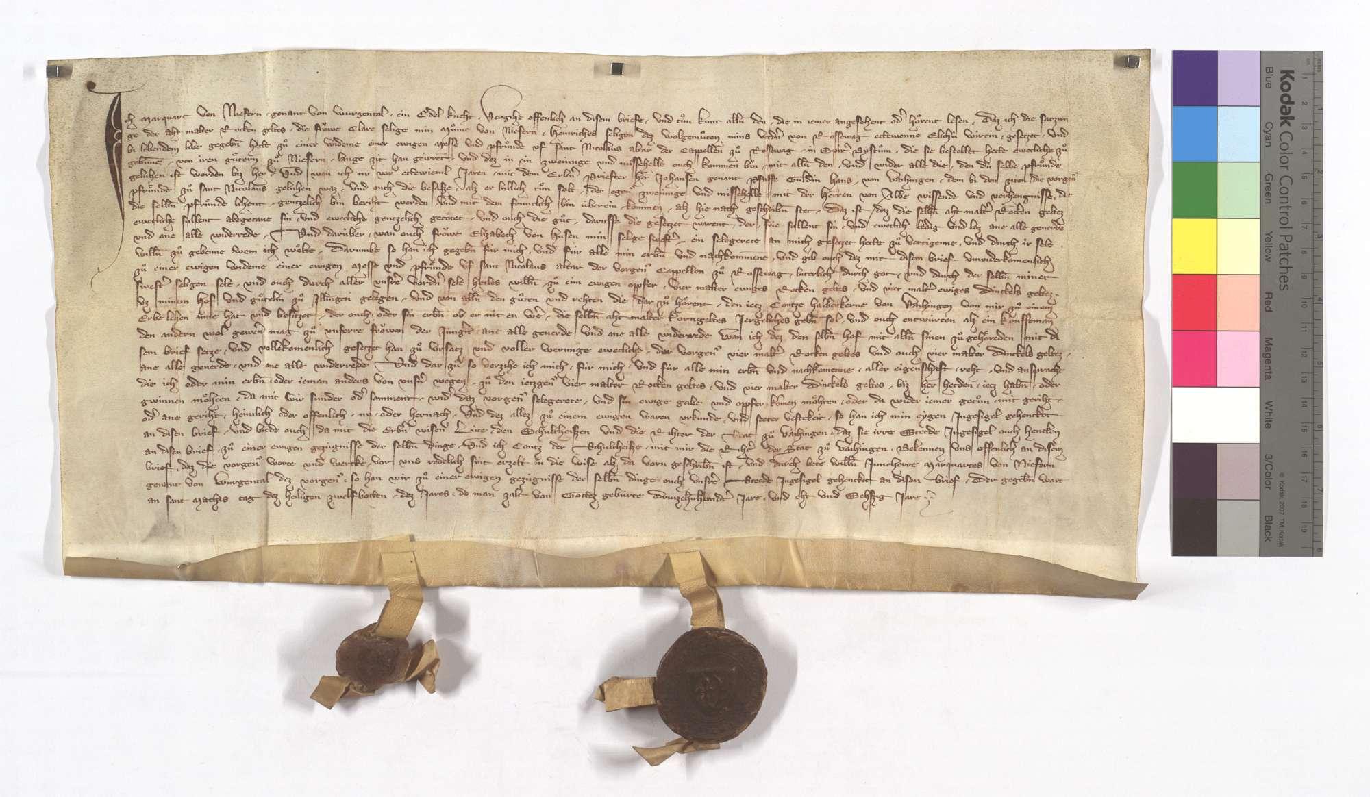 Marquard von Niefern verkauft der Frühmess in Roßwag eine jährliche Korngült von 4 Malter Roggen und 4 Malter Dinkel aus einem Hof in Illingen., Text