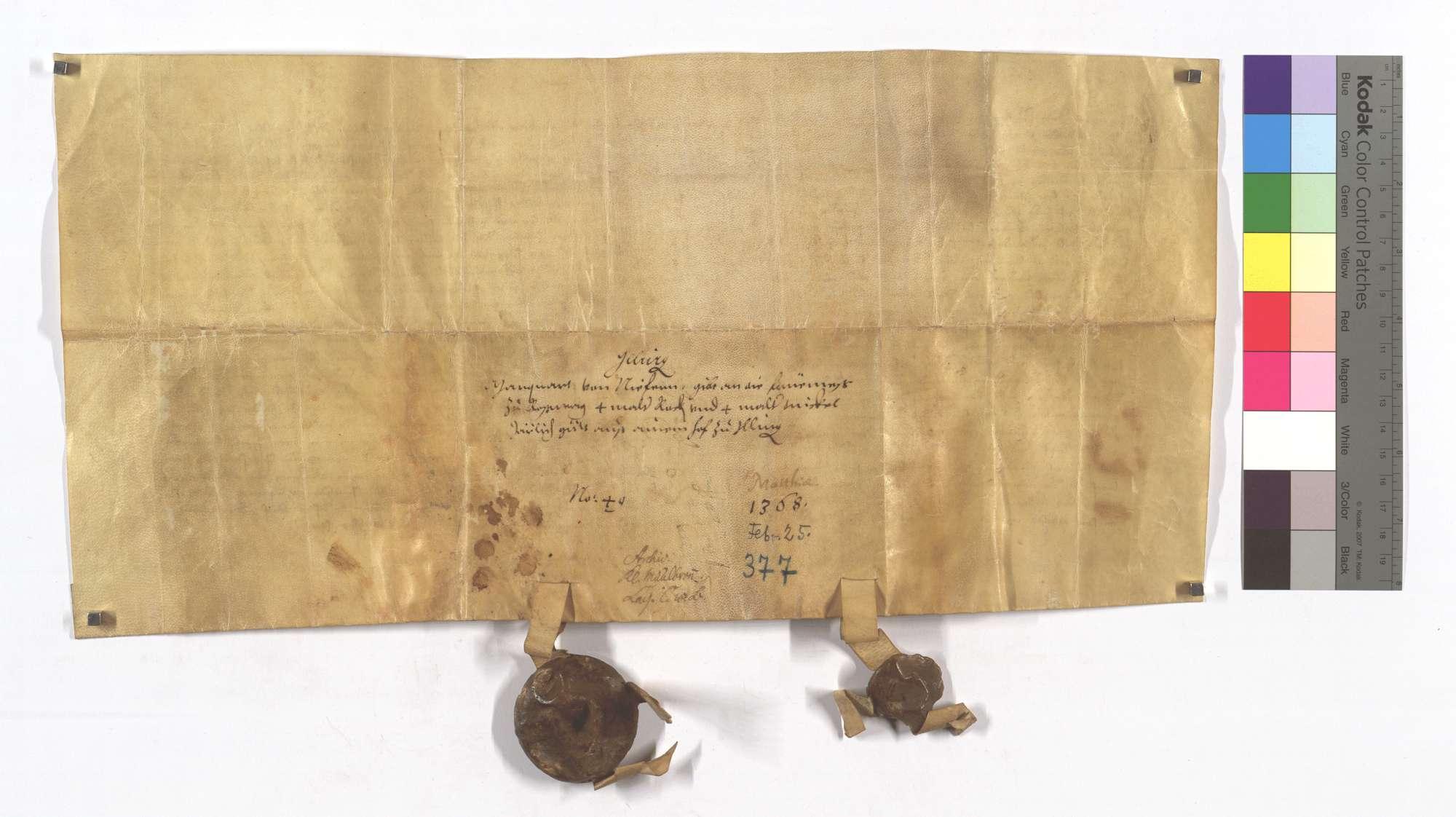 Marquard von Niefern verkauft der Frühmess in Roßwag eine jährliche Korngült von 4 Malter Roggen und 4 Malter Dinkel aus einem Hof in Illingen., Rückseite