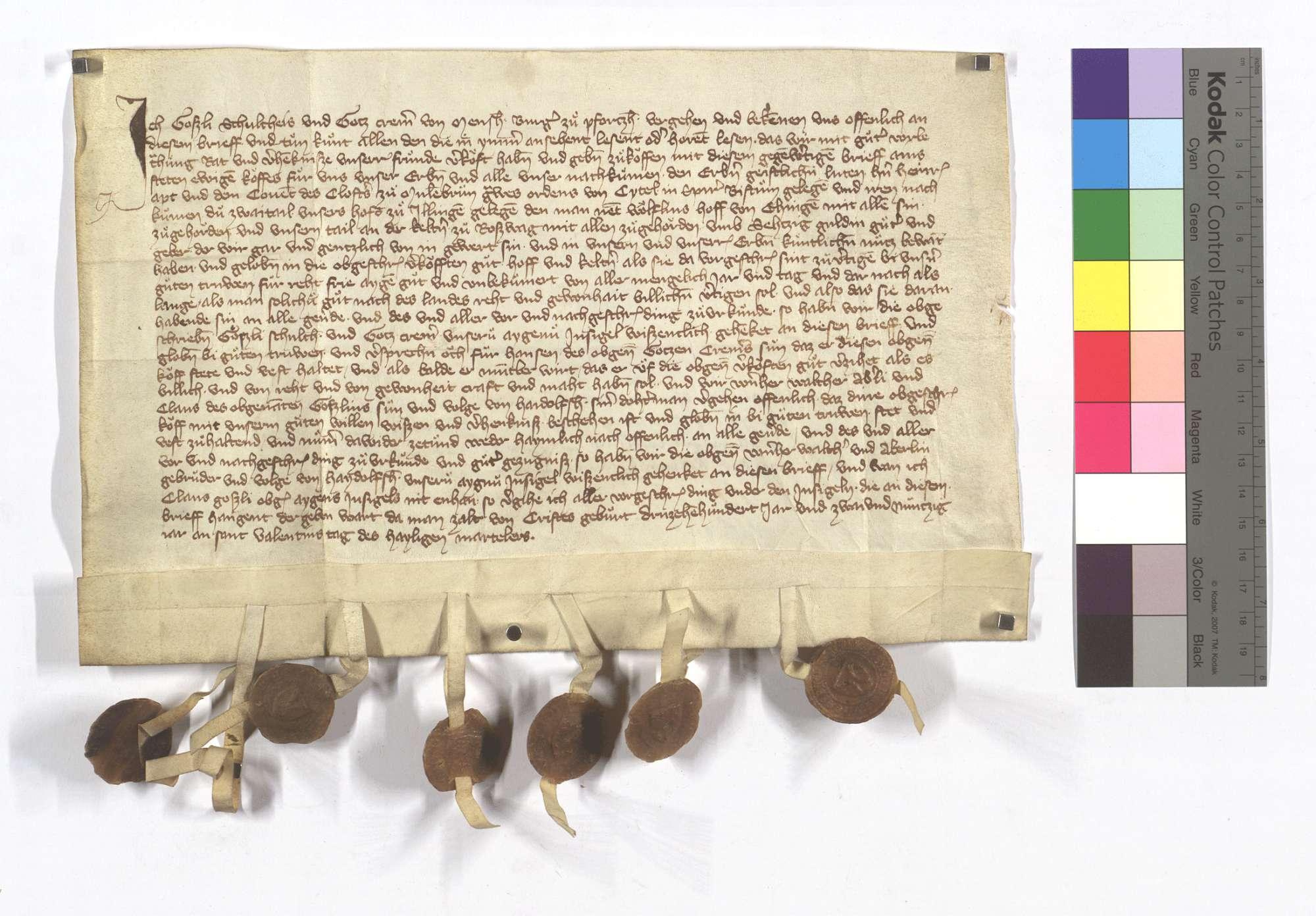 Goßli Schultheiß und Heinz Cremer von Mönsheim verkaufen dem Kloster Maulbronn ihre 2 Teile an dem Hof in Illingen, genannt Wolflinshof, samt ihrem Teil an der Kelter in Roßwag., Text