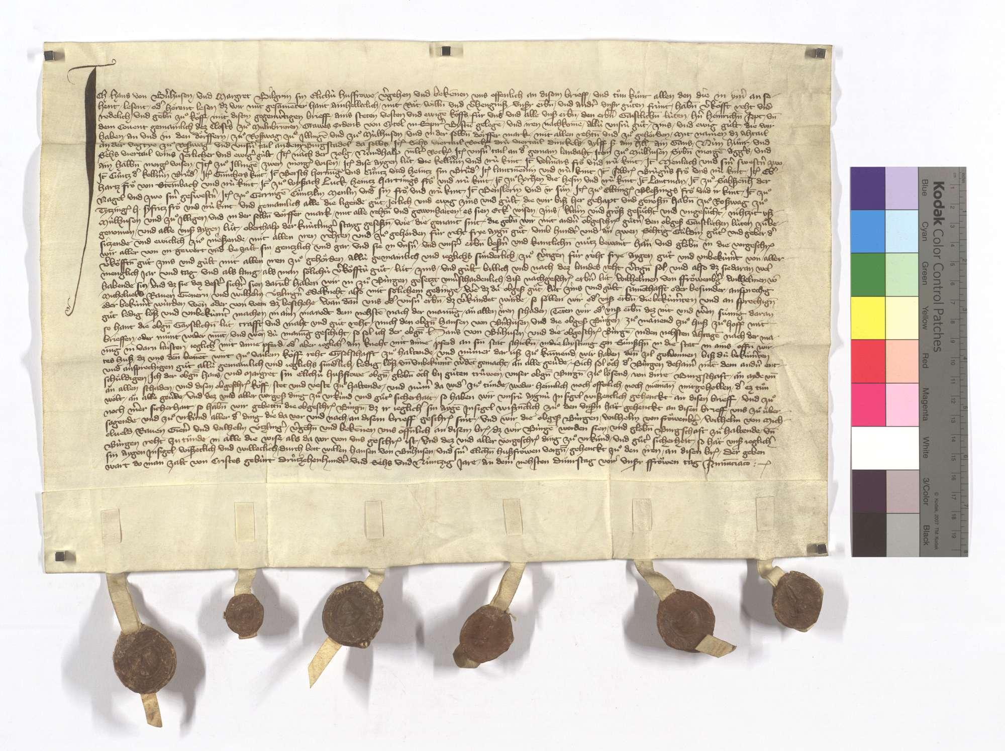 Hans von Bernhausen verkauft dem Kloster Maulbronn seine Gerechtsame, Zins und Gülten sowie einige Leute in Illingen, Roßwag, Mühlhausen (Mülhausen) und ob der Knittlinger Steige (Staig)., Text