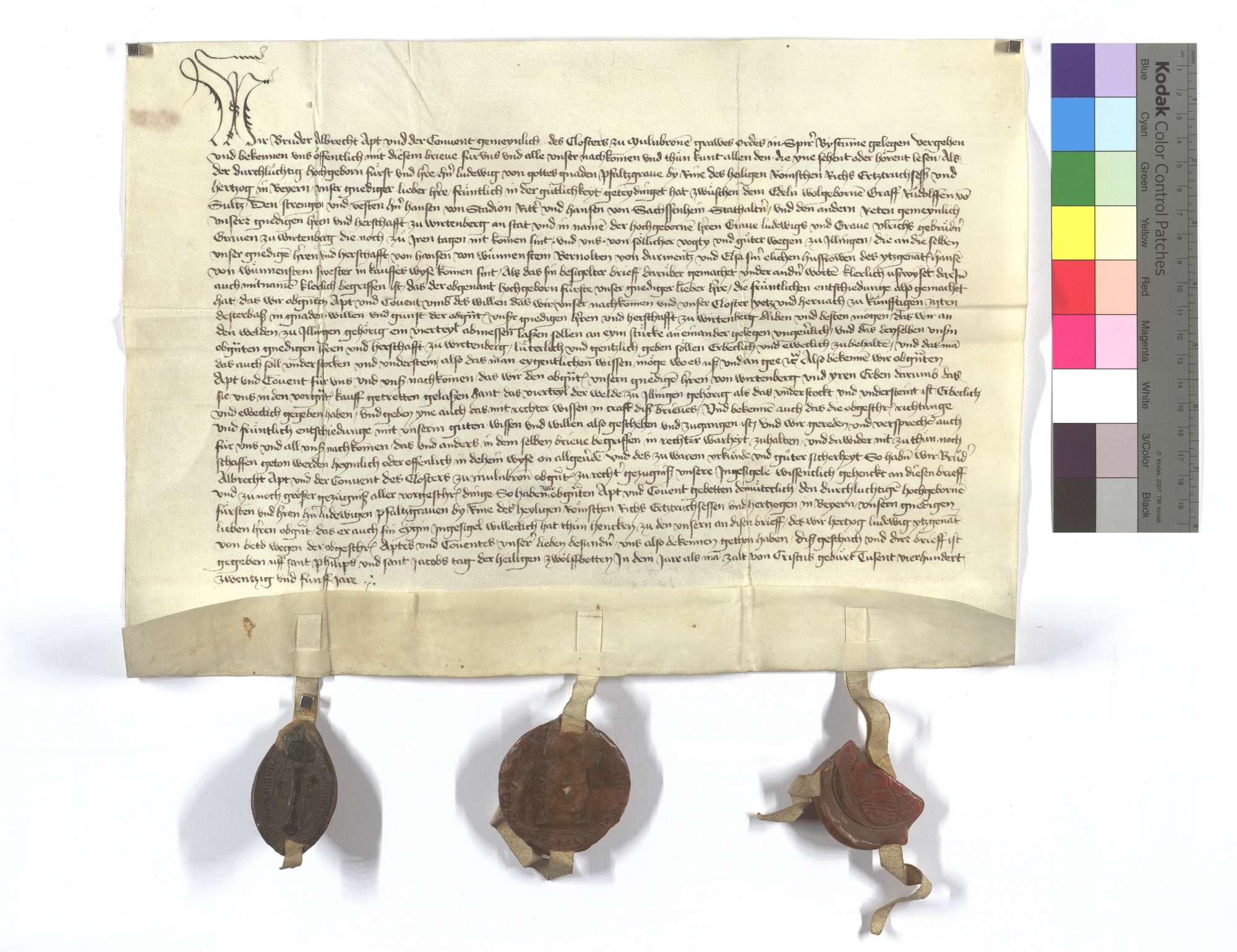 Fertigung Abts und Konvents zu Maulbronn um 1/4 Walds in Illingen, den sie der Herrschaft Württemberg (Wirtemberg) kraft vorstehender Vereinbarung überlassen haben., Text