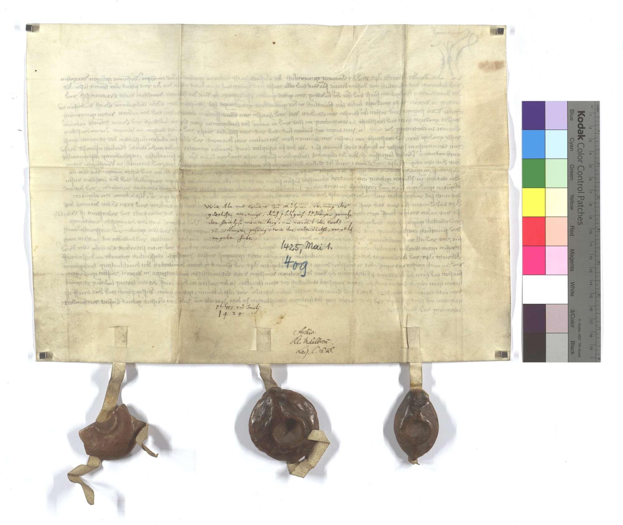 Fertigung Abts und Konvents zu Maulbronn um 1/4 Walds in Illingen, den sie der Herrschaft Württemberg (Wirtemberg) kraft vorstehender Vereinbarung überlassen haben., Rückseite