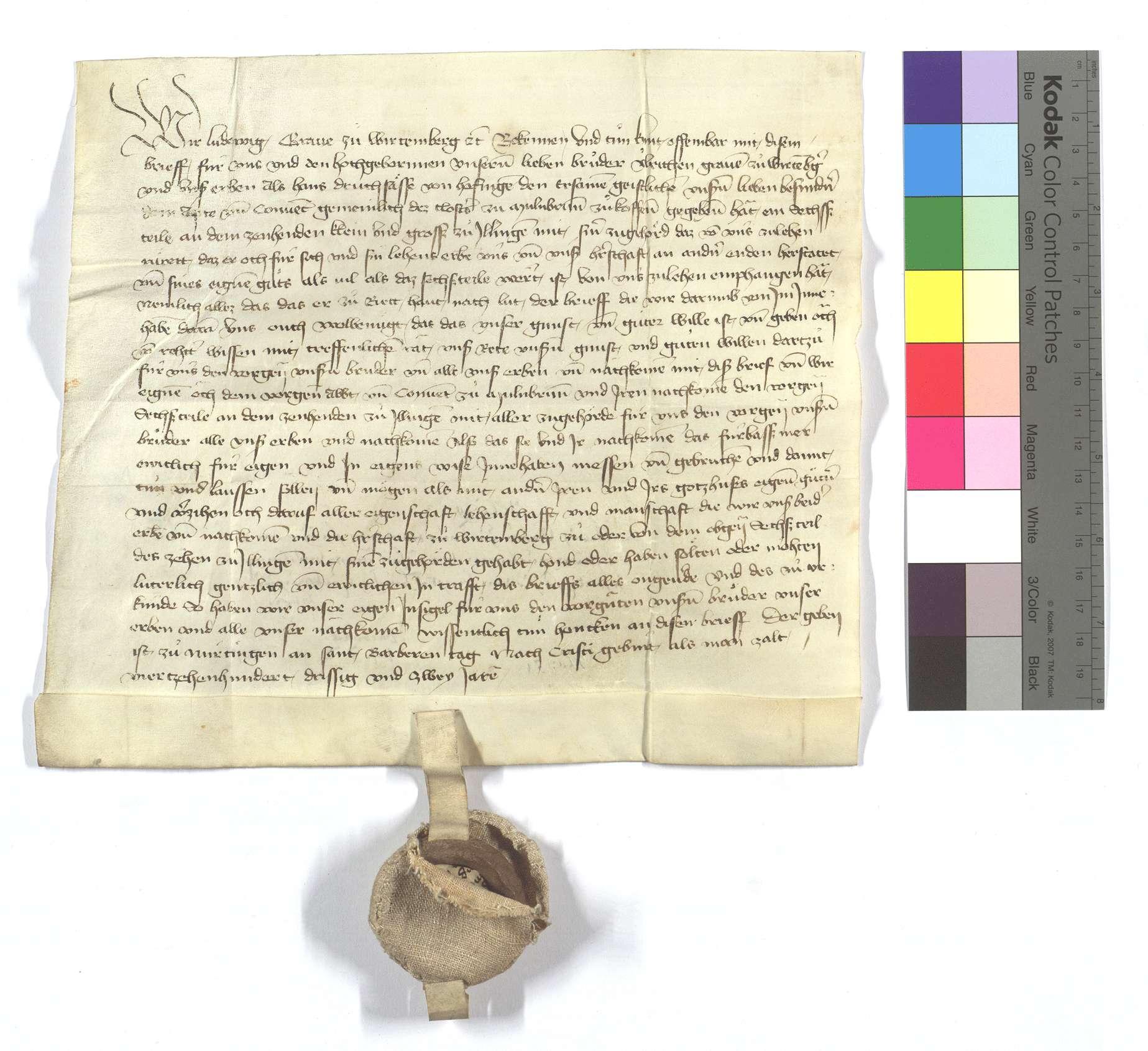 Graf Ludwig von Württemberg (Wirtemberg) freit dem Kloster Maulbronn solchen verkauften Zehnten., Text