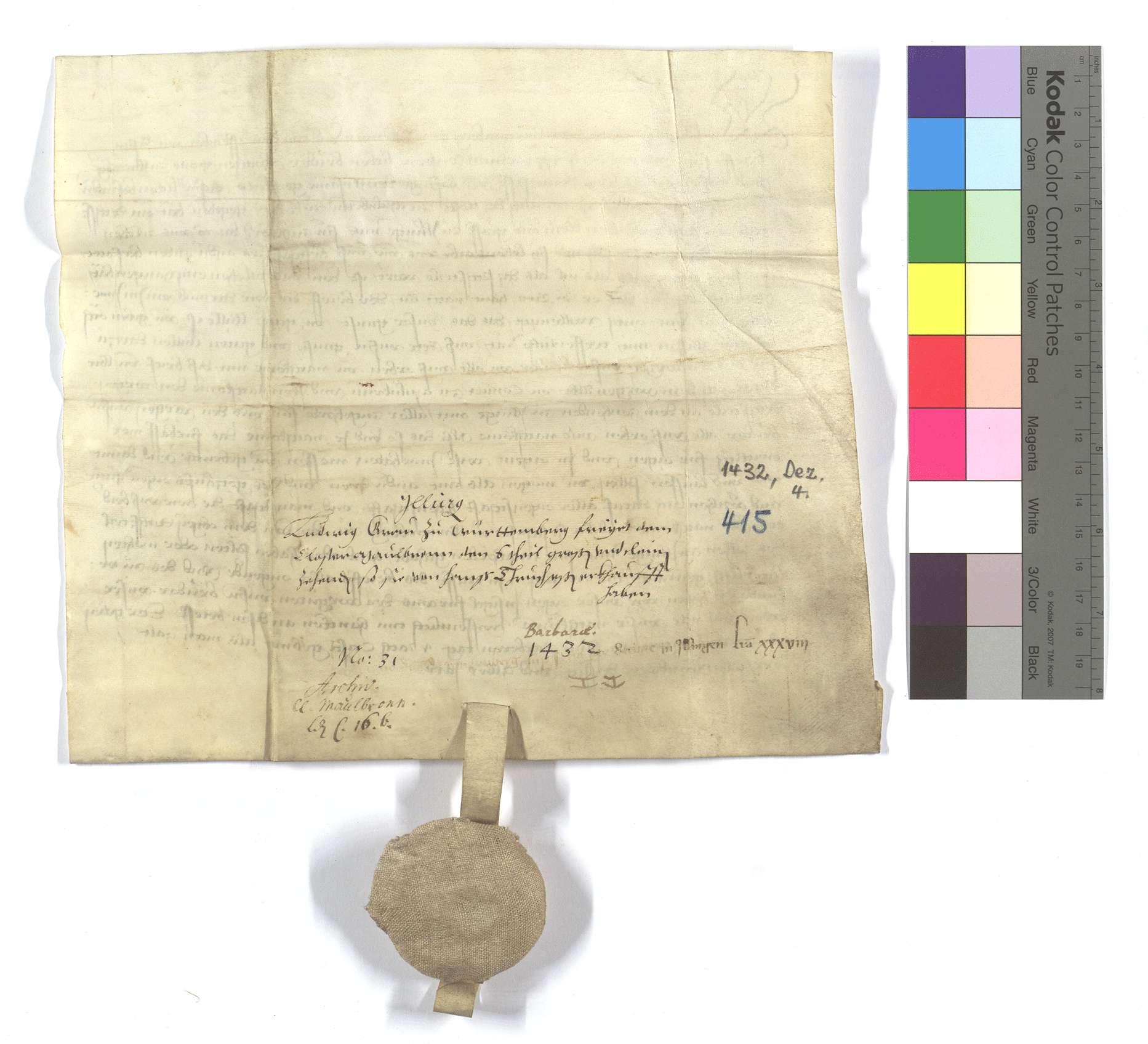 Graf Ludwig von Württemberg (Wirtemberg) freit dem Kloster Maulbronn solchen verkauften Zehnten., Rückseite