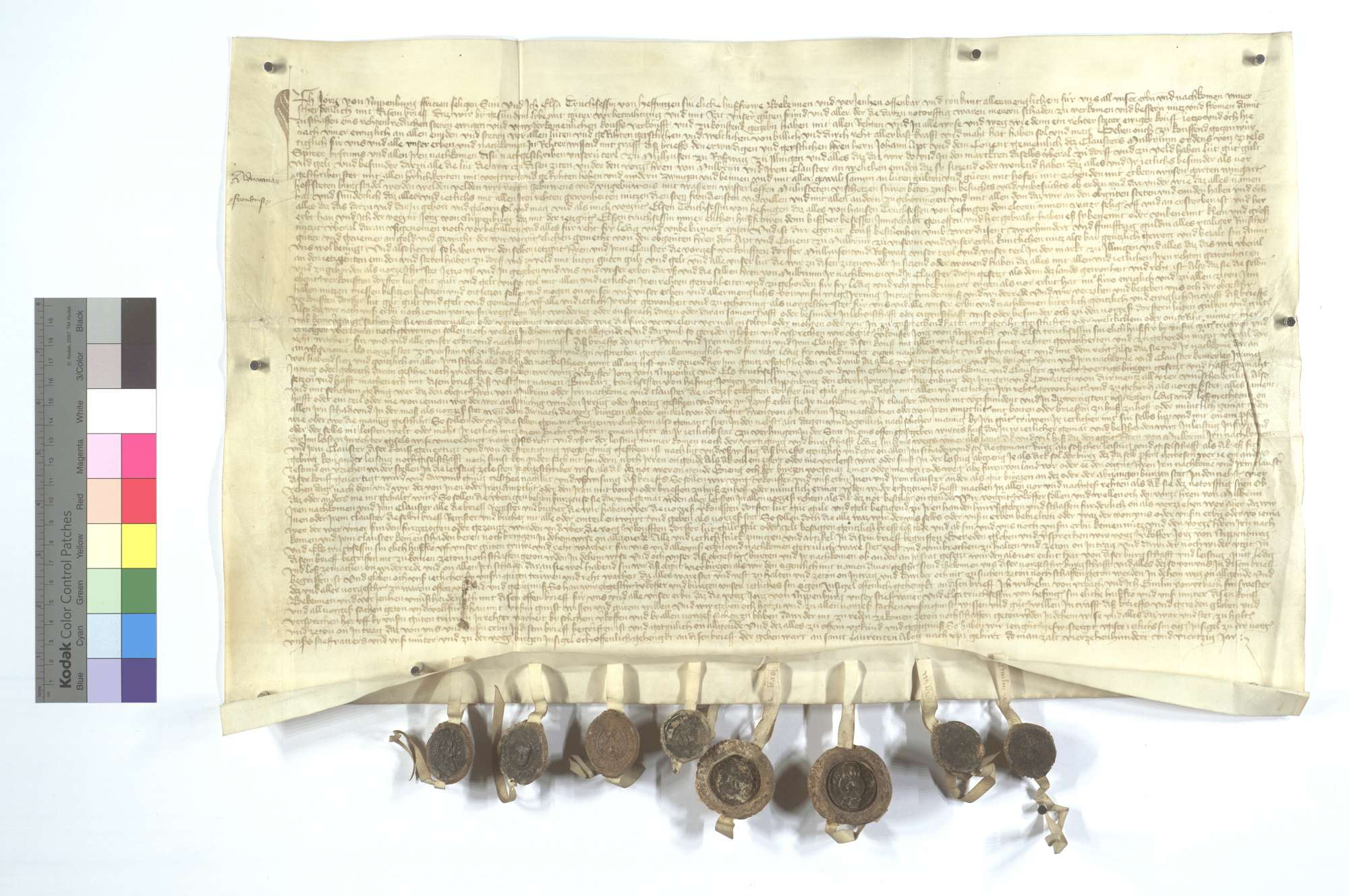Jörg von Nippenburg verkauft alle Obrigkeit, Gerechtsame, Güter, Zinsen und Gülten in Illingen, Roßwag und Mühlhausen (Mülhausen) dem Kloster Maulbronn für 2.250 Gulden., Text