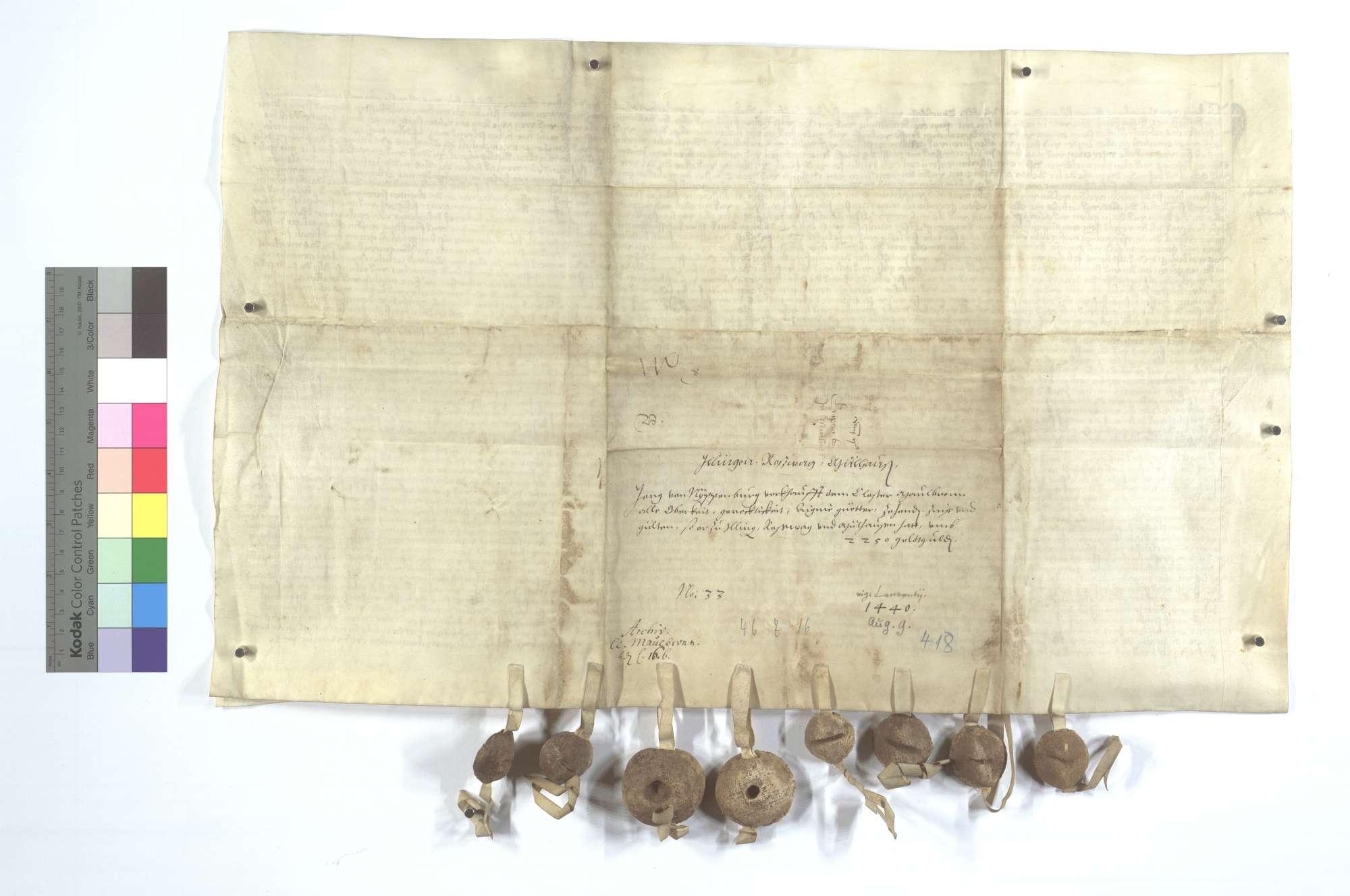 Jörg von Nippenburg verkauft alle Obrigkeit, Gerechtsame, Güter, Zinsen und Gülten in Illingen, Roßwag und Mühlhausen (Mülhausen) dem Kloster Maulbronn für 2.250 Gulden., Rückseite