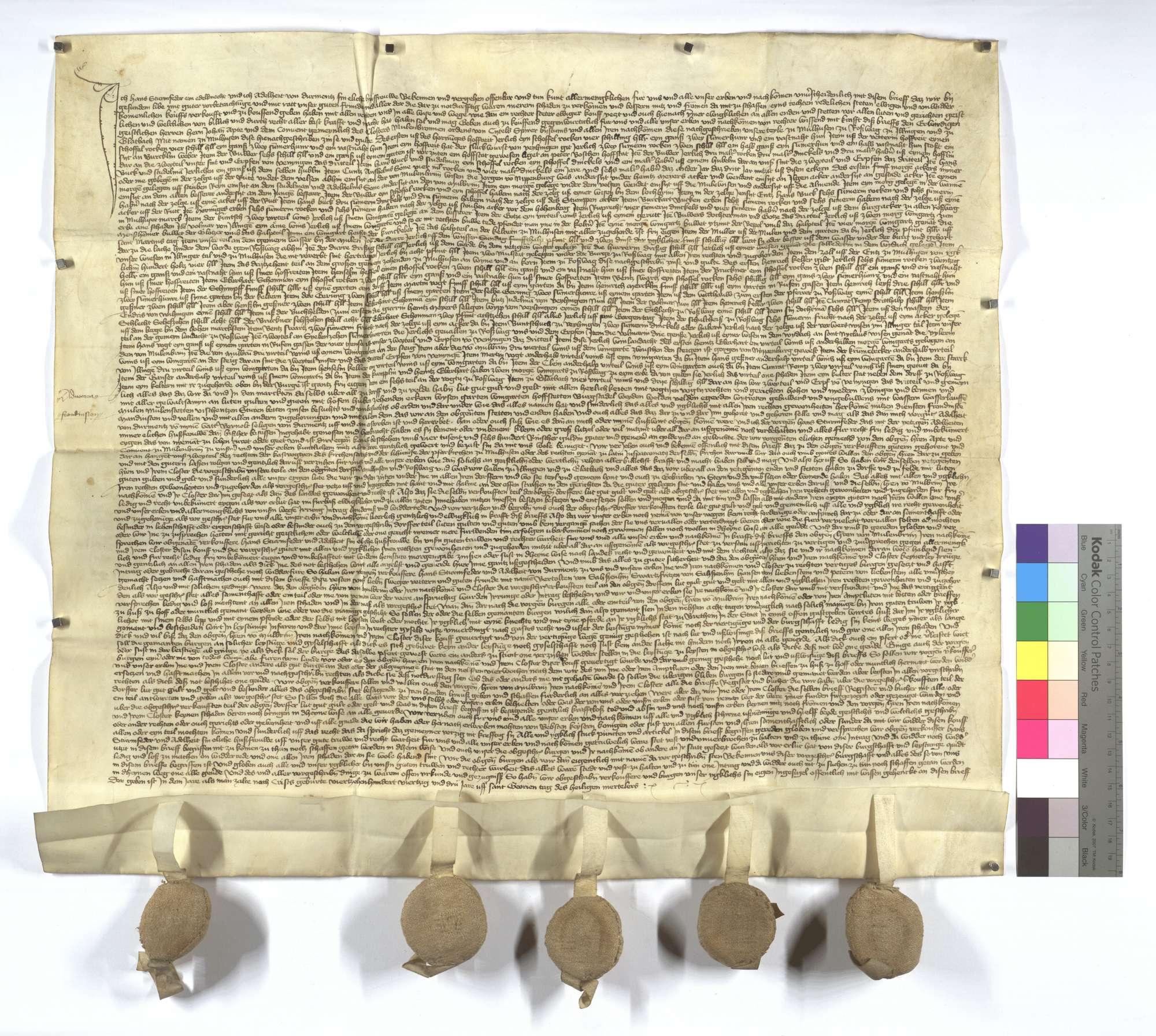 Hans Sturmfeder verkauft dem Kloster Maulbronn seine Obrigkeiten, Gerechtsame, Güter und Gülten in Illingen, Roßwag, Mühlhausen (Mülhausen) und Glattbach für 4.600 Rheinische Gulden., Text