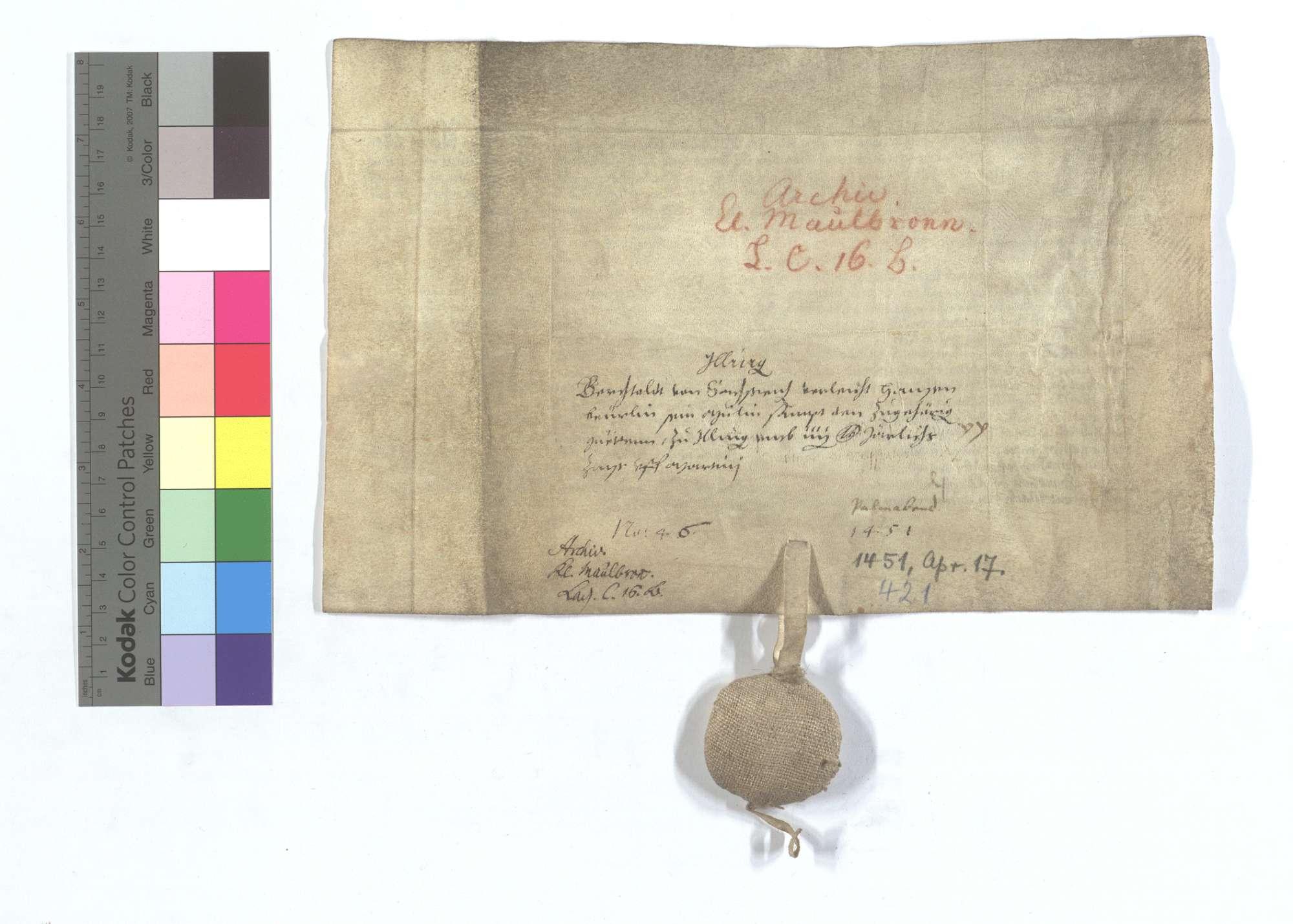 Lehensbrief des Berthold von Sachsenheim für Hans Beurlin um die Mühle in Illingen., Rückseite