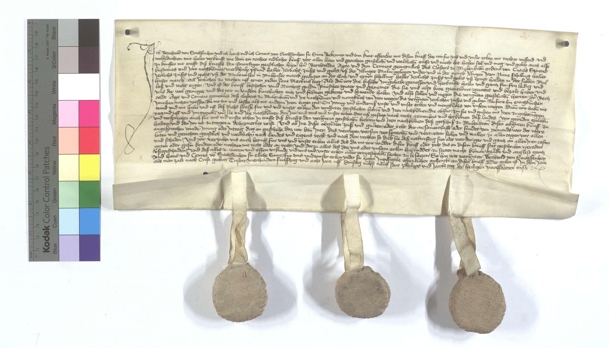 Berthold, Hans und Conrad von Sachsenheim (Sachssenheim) verkaufen dem Kloster Maulbronn 3 1/2 Pfund Heller jährliche Gült aus der Mühle in Illingen und 10 Pfund Heller aus etlichen Gütern in Mühlhausen (Mülhausen)., Text