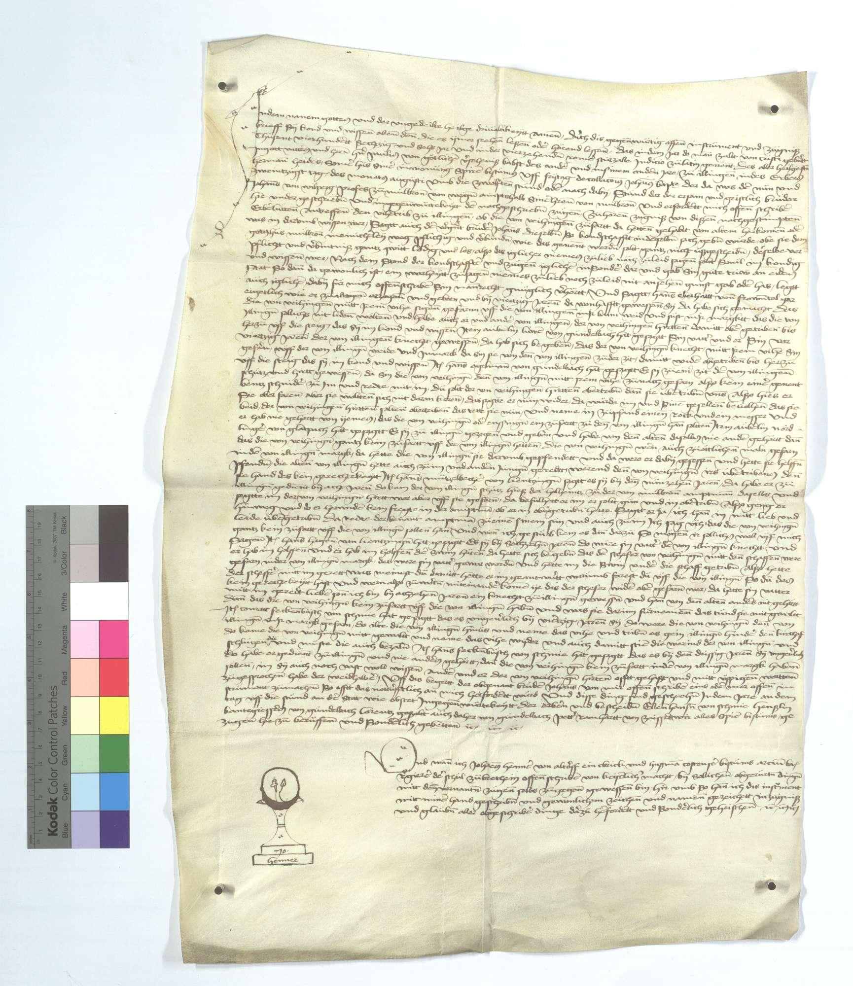 Instrumentum verhörter Kundschaft, dass die von Vaihingen keine Gerechtigkeit an dem Weidgang auf Illinger Markung haben., Text
