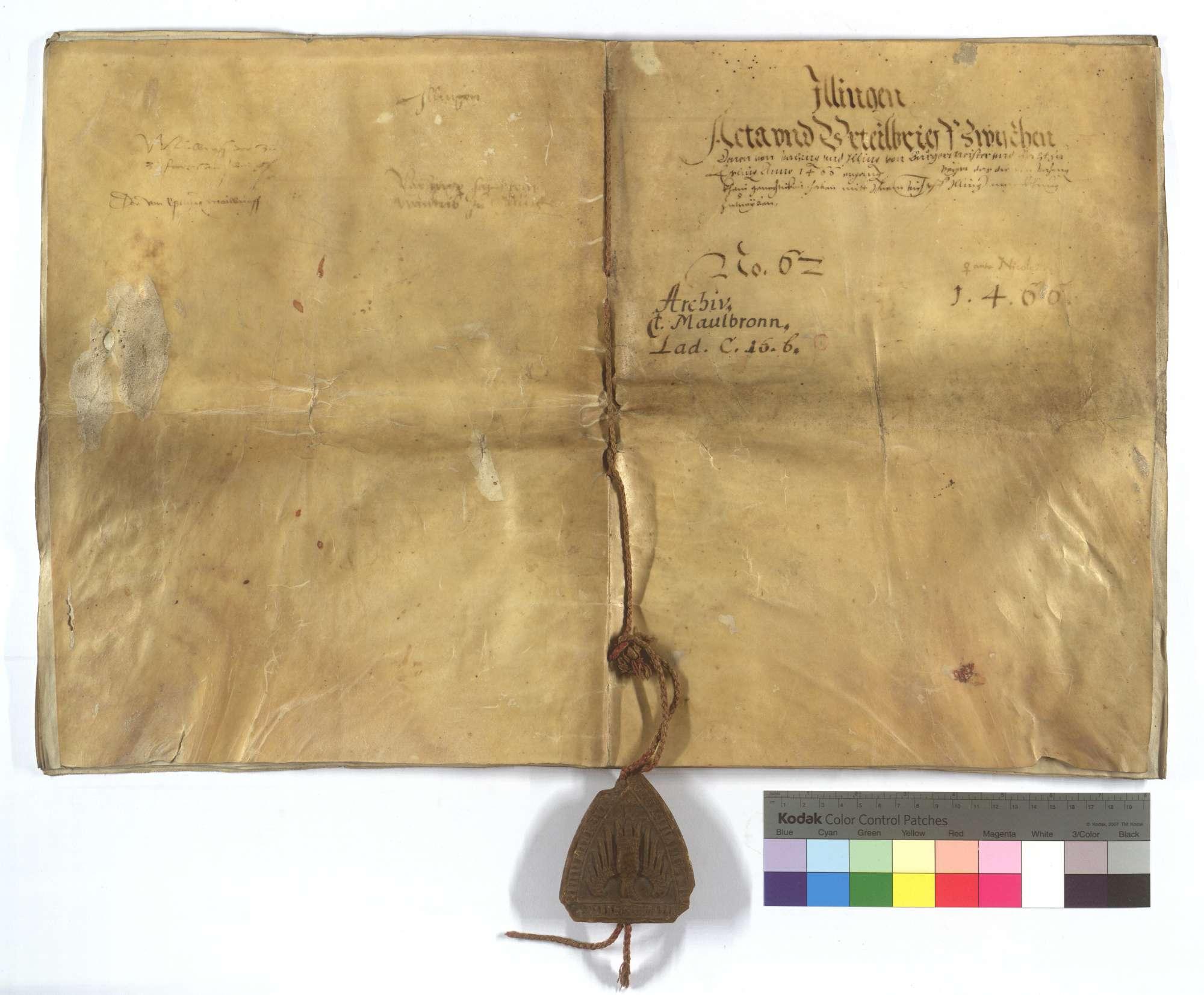 Acta und Urteilsbrief von Bürgermeister und Rat von Esslingen (Eßlingen), dass die von Vaihingen keine Gerechtigkeit haben, mit ihrem Vieh auf Illinger Markung zu treiben., Bild 1