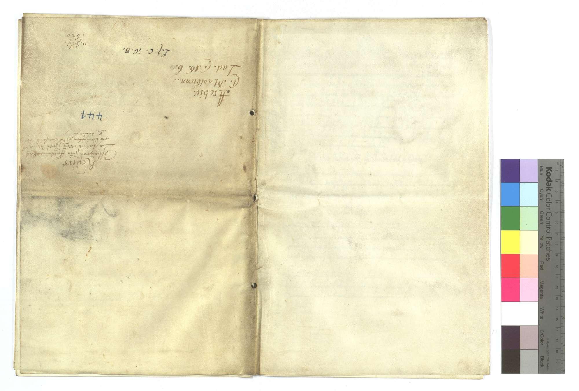 Verschreibung Castolus Weissers von Illingen, als Herzog Johann Friedrich ihm den Füllmenbacher Hof um 2.000 Gulden verkauft und noch ein bezeichnetes Stück Wald für 100 Gulden in den Kauf gegeben hat., Bild 1