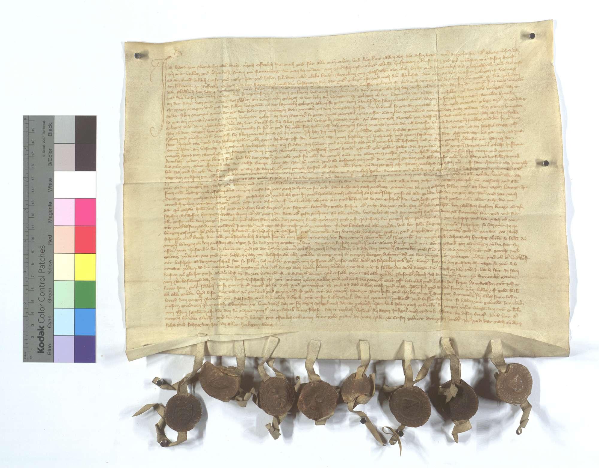 Hans von Bernhausen verkauft Bernold von Sachsenheim etliche Gerechtsame, Zins und Gülten., Text