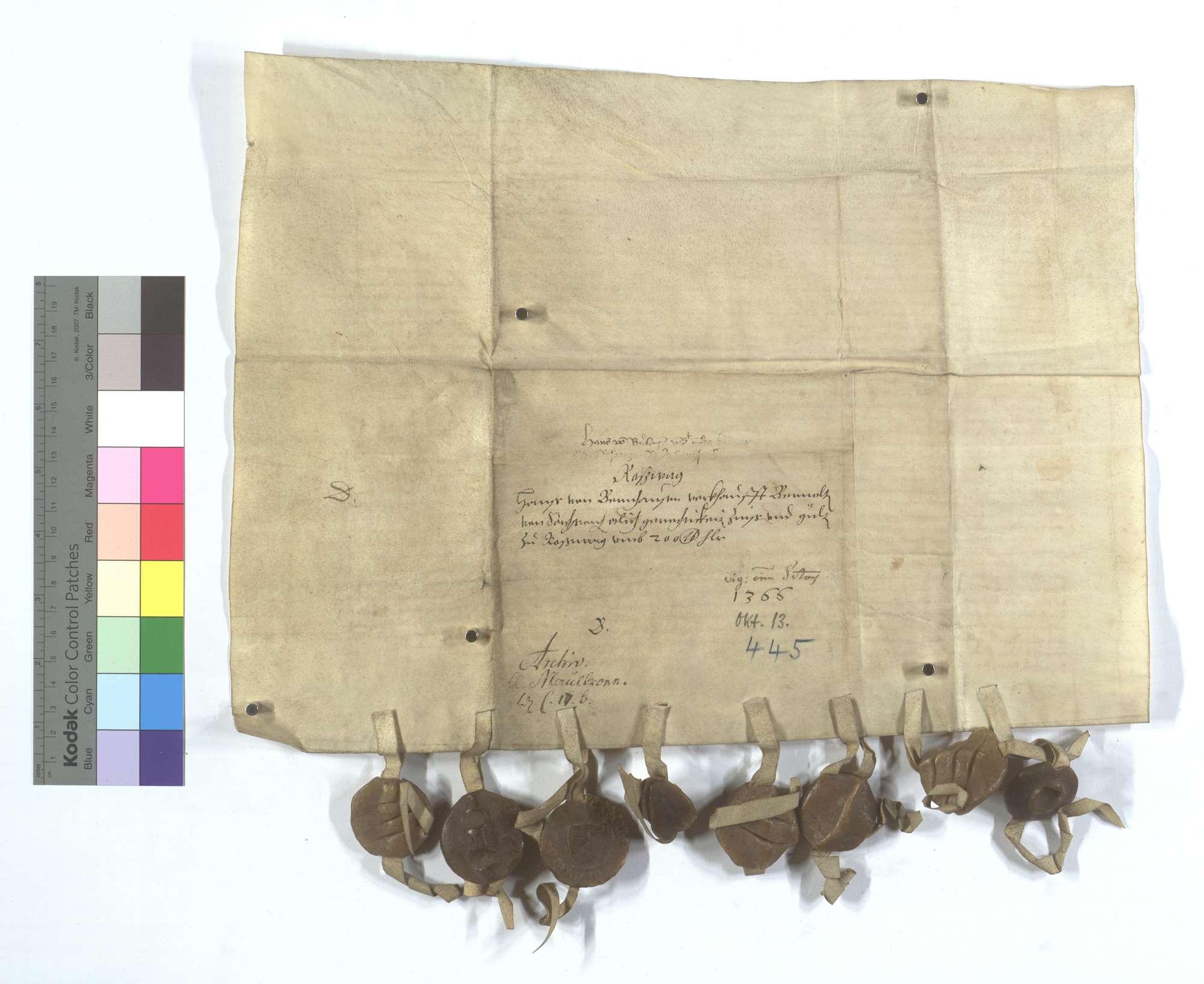 Hans von Bernhausen verkauft Bernold von Sachsenheim etliche Gerechtsame, Zins und Gülten., Rückseite