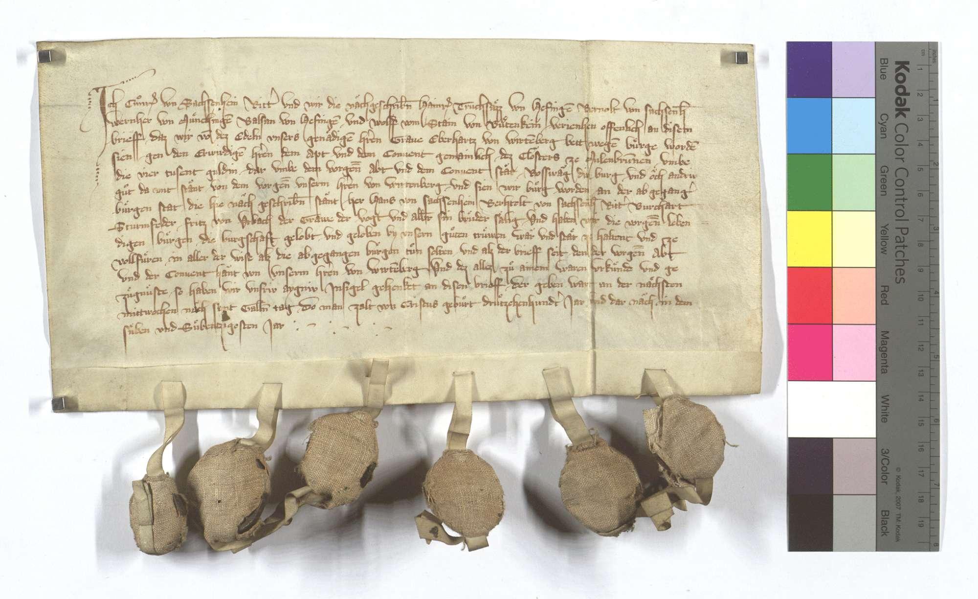 Conrad von Sachsenheim und Konsorten verschreiben sich für Graf Eberhard von Württemberg (Wirtemberg) als Bürgen gegen das Kloster Maulbronn um 4.000 Gulden, wofür diesem Kloster die Burg Roßwag versichert worden ist., Text