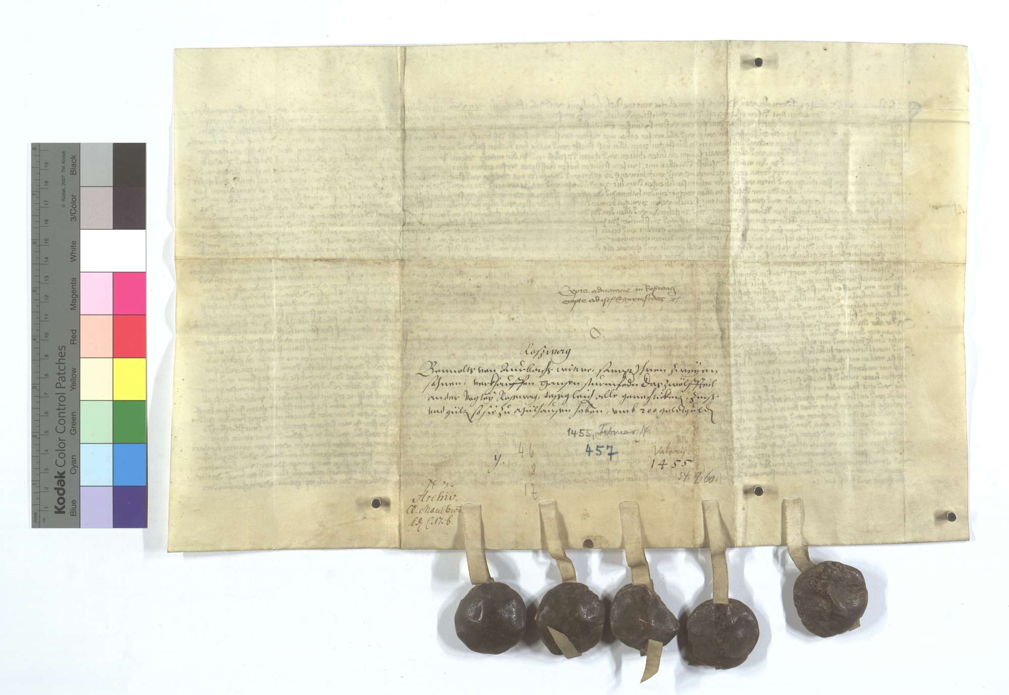 Anna von Venningen, Bernold von Urbachs Witwe, und ihre beiden Söhne verkaufen Hans Sturmfeder 1/12 an der Vogtei in Roßwag samt ihrer Gerechtsame, Zinsen und Gülten in Mühlhausen (Mülhausen)., Rückseite