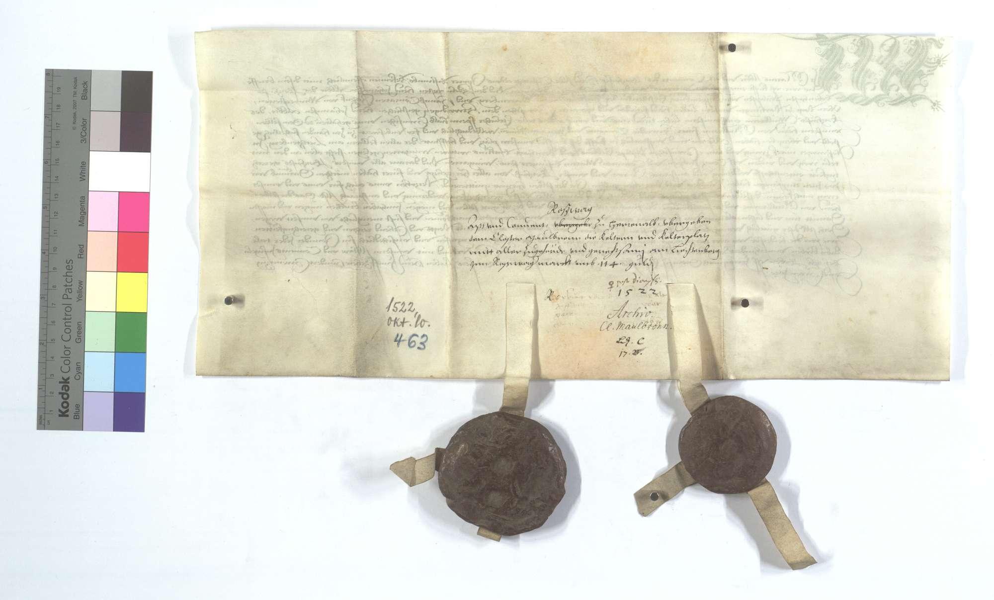 Abt und Konvent von Herrenalb übergeben diese Kelter und Kelterplatz mit ihrer Gerechtsame für 114 Gulden., Rückseite