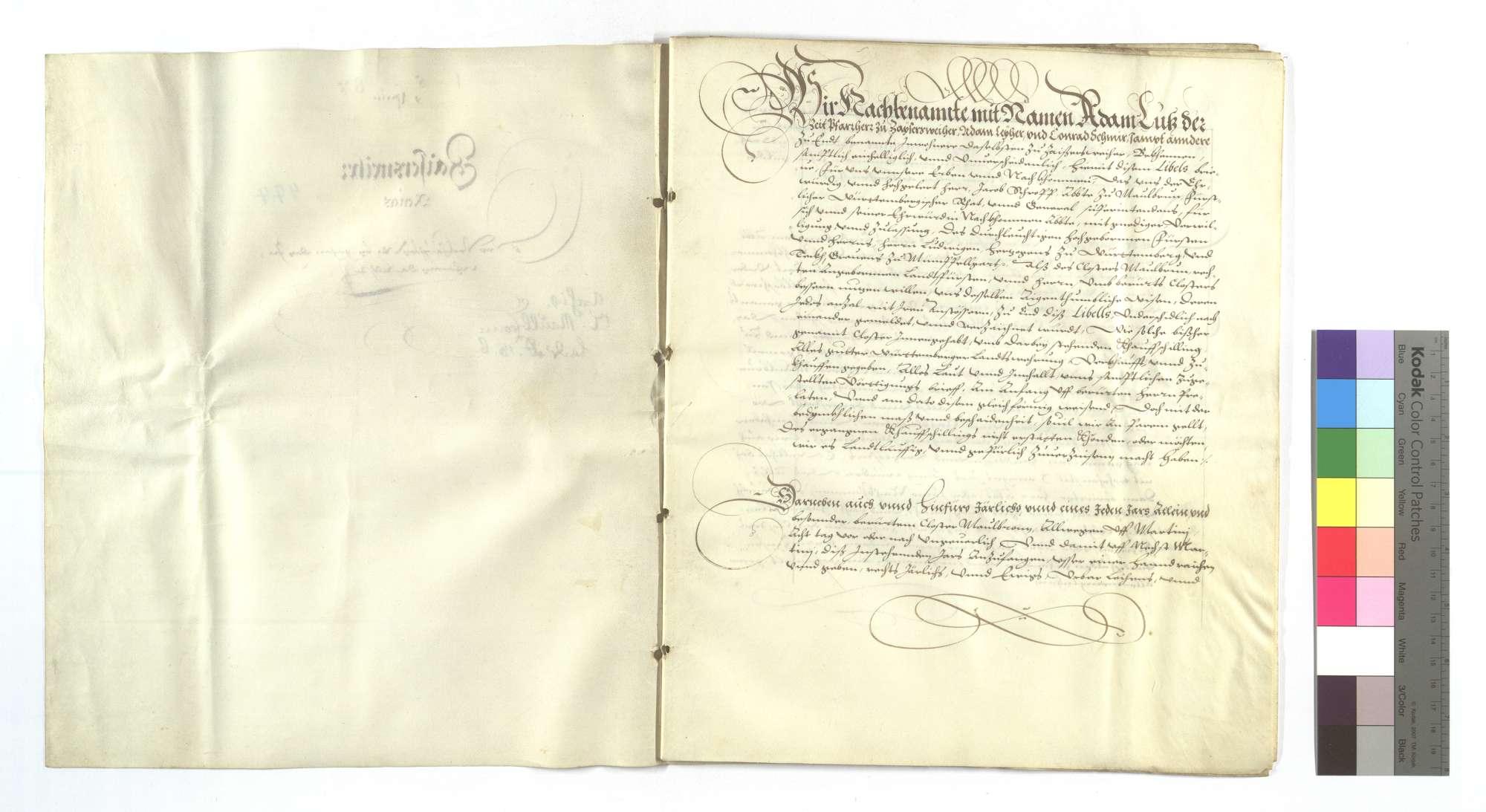 Erblehensrevers derer von Zaisersweiher um die von dem Kloster Maulbronn verkauften Wiesen im Schützinger (Schüzinger) Tal., Bild 2