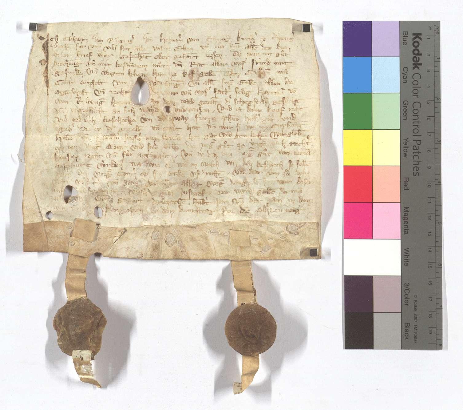Eberhard von Riexingen verkauft seine Rechte an dem Wald, der Scheckstein genannt, an Conrad Gossolt von Vaihingen., Text